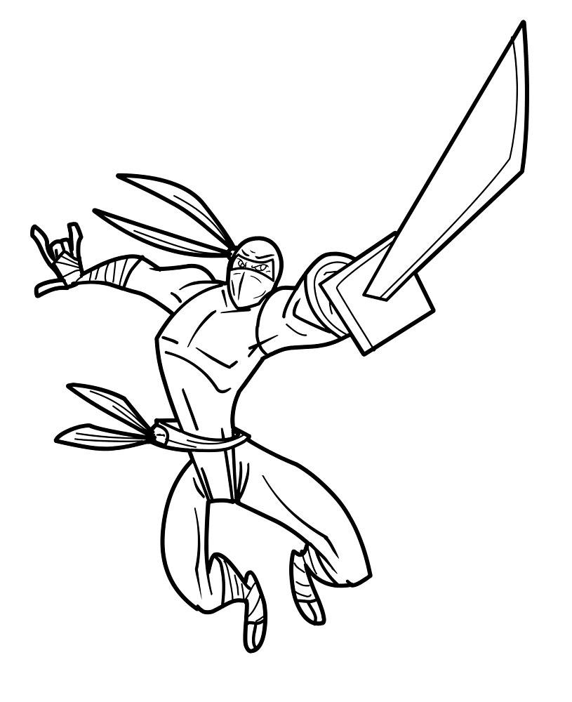 Coloriage Guerrier Ninja À Imprimer Et Colorier encequiconcerne Coloriage D Épée