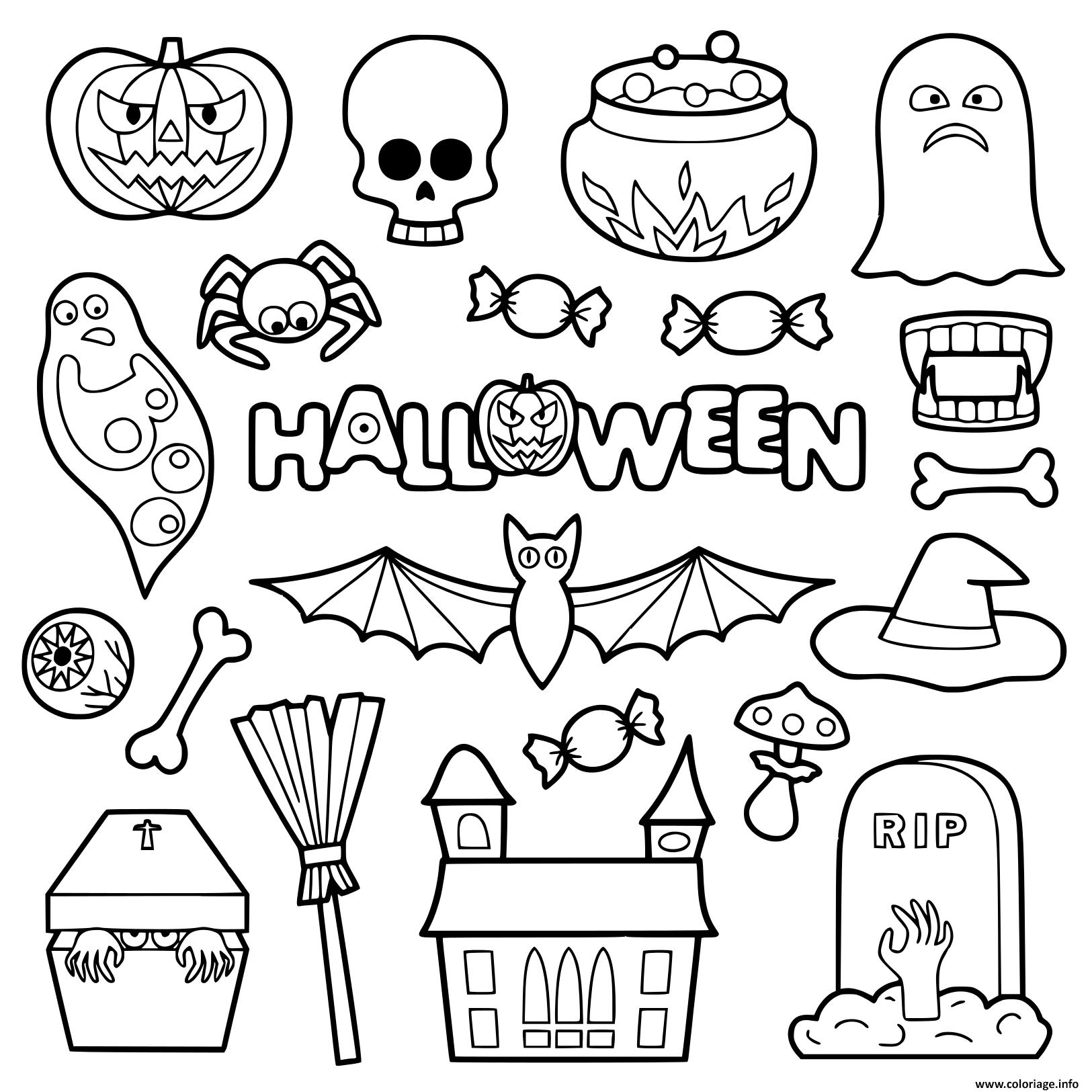 Coloriage Halloween Objets Pour Enfants Dessin destiné Dessin Pour Enfant À Colorier