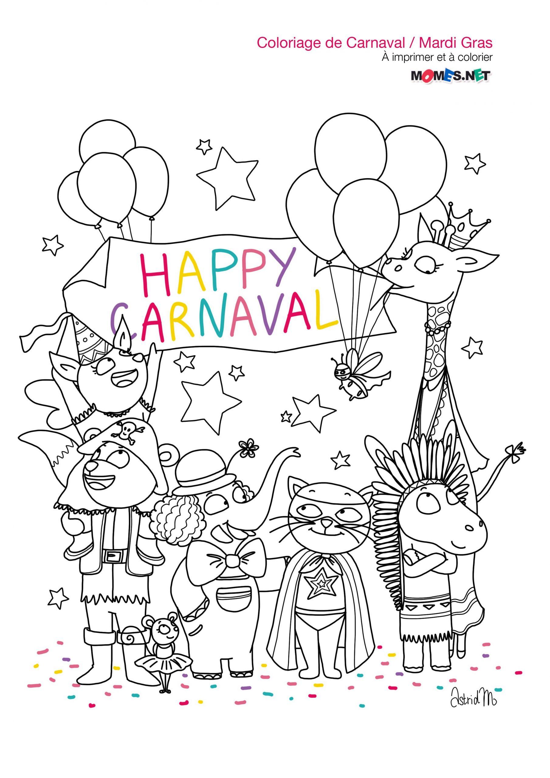 Coloriage Happy Carnaval & Joyeux Mardi Gras ! / Le Blog De à Coloriage De Carnaval A Imprimer Gratuit
