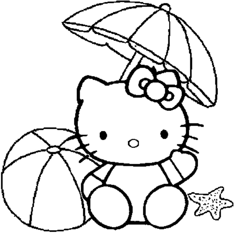 Coloriage Hello Kitty À La Plage En Ligne Gratuit À Imprimer tout Hello Kitty À Dessiner