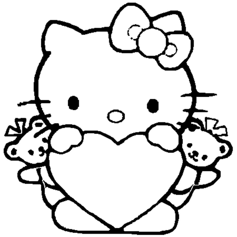 Coloriage Hello Kitty Coeur En Ligne Gratuit À Imprimer à Hello Kitty À Dessiner