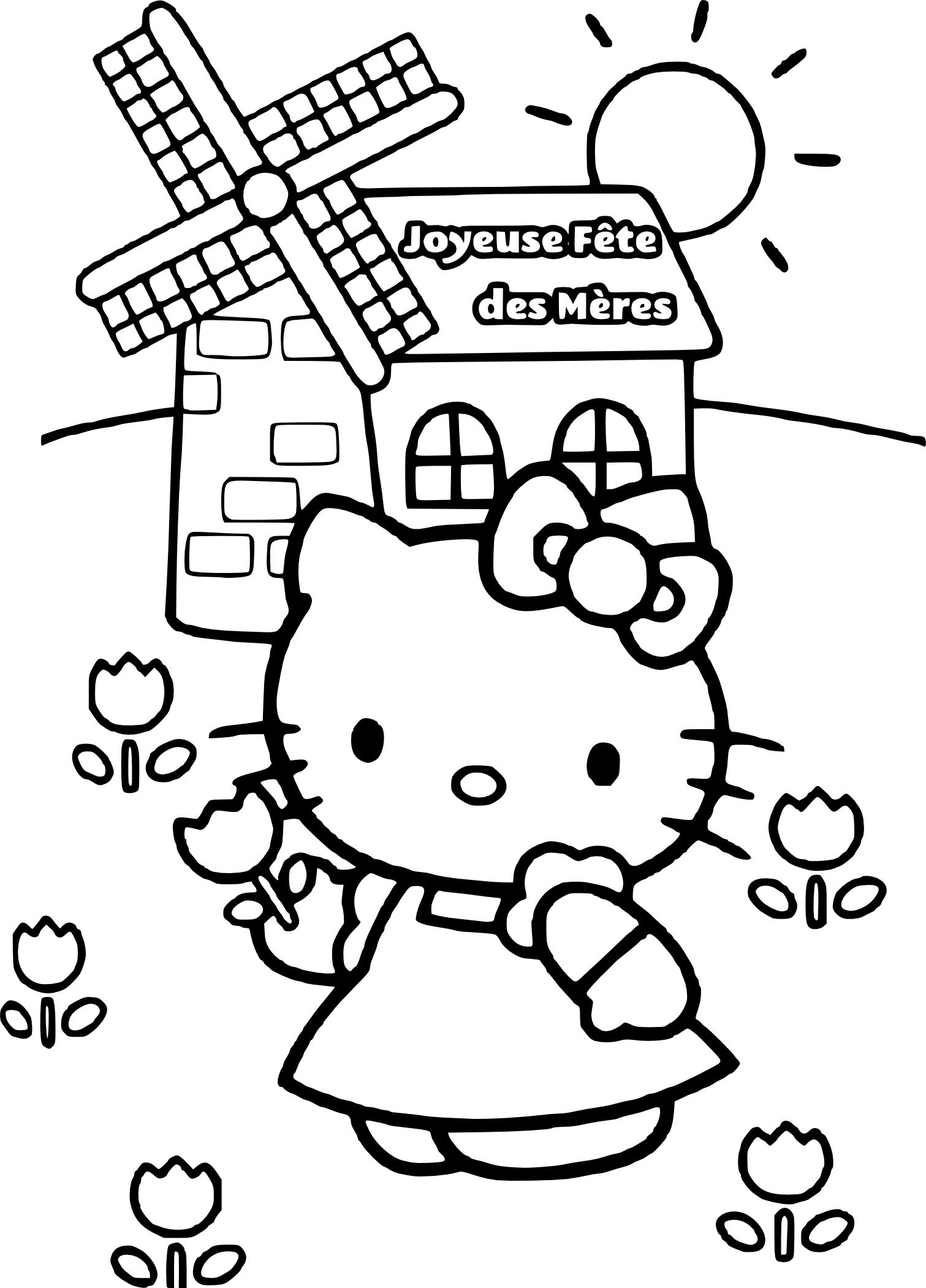 Coloriage Hello Kitty Fete Des Meres À Imprimer pour Hello Kitty À Dessiner