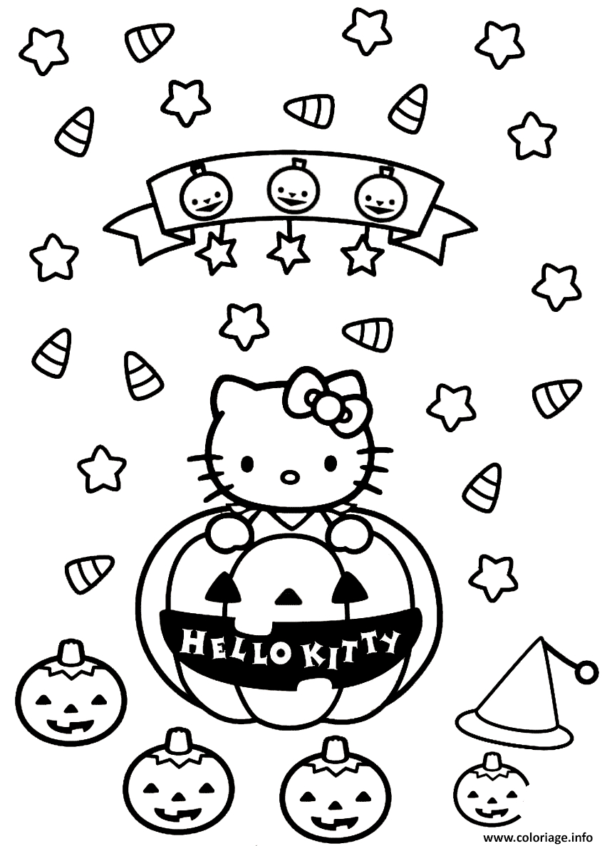 Coloriage Hello Kitty Halloween Citrouilles Dessin pour Hello Kitty À Dessiner