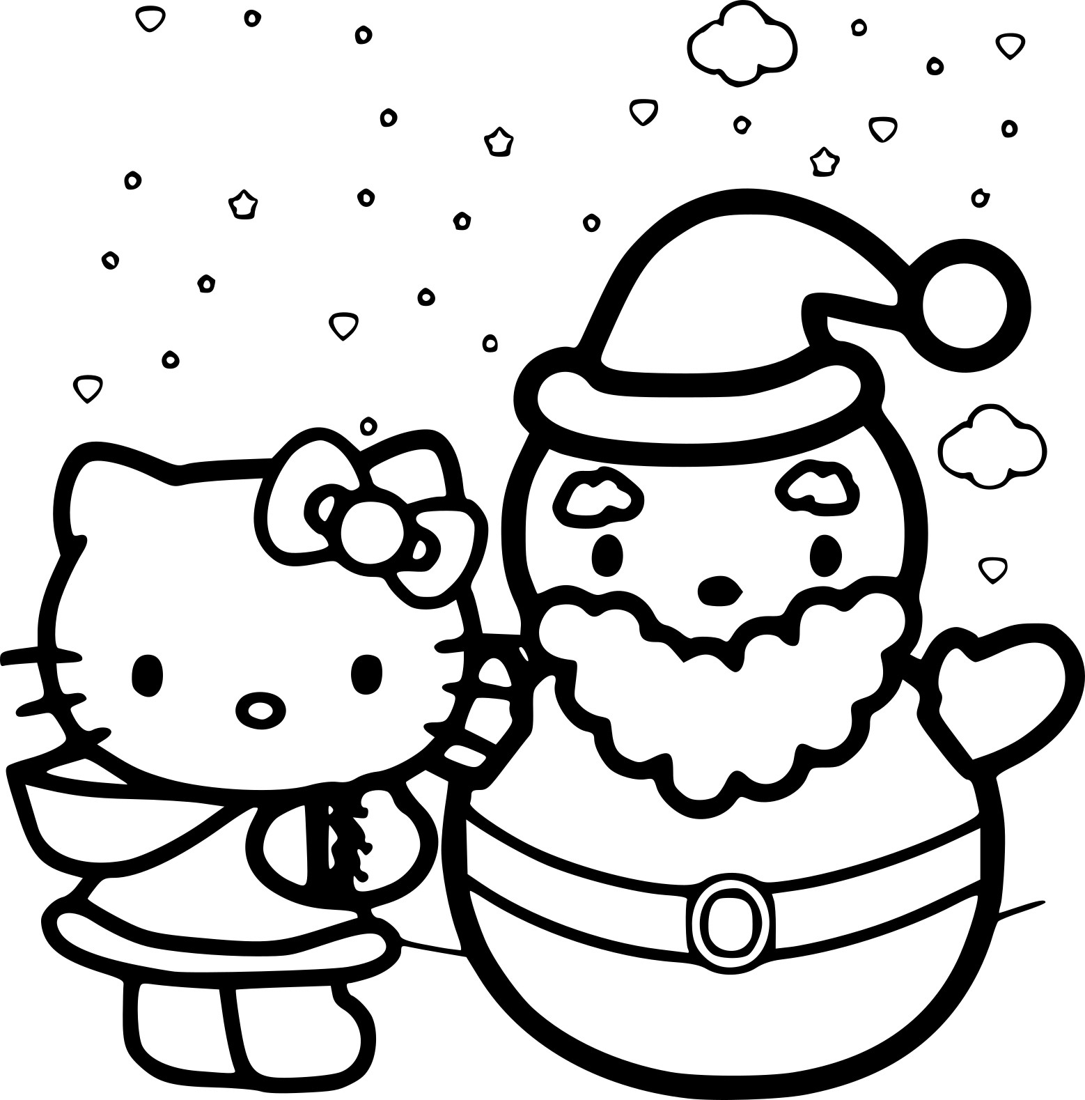 Coloriage Hello Kitty Noël À Imprimer serapportantà Hello Kitty À Dessiner