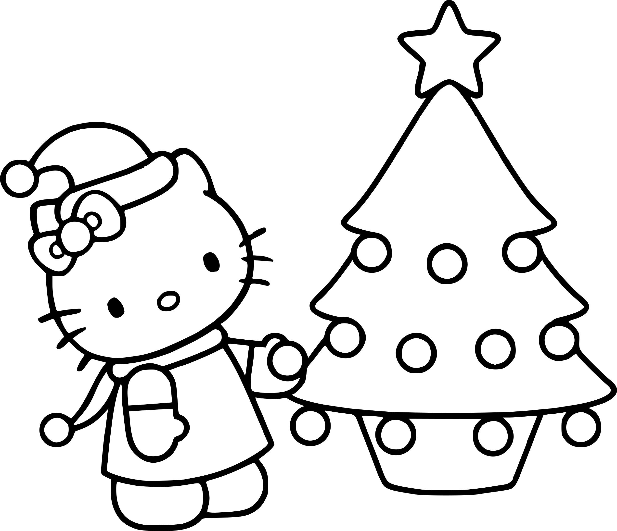 Coloriage Hello Kitty Noël À Imprimer Sur Coloriages concernant Hello Kitty À Dessiner
