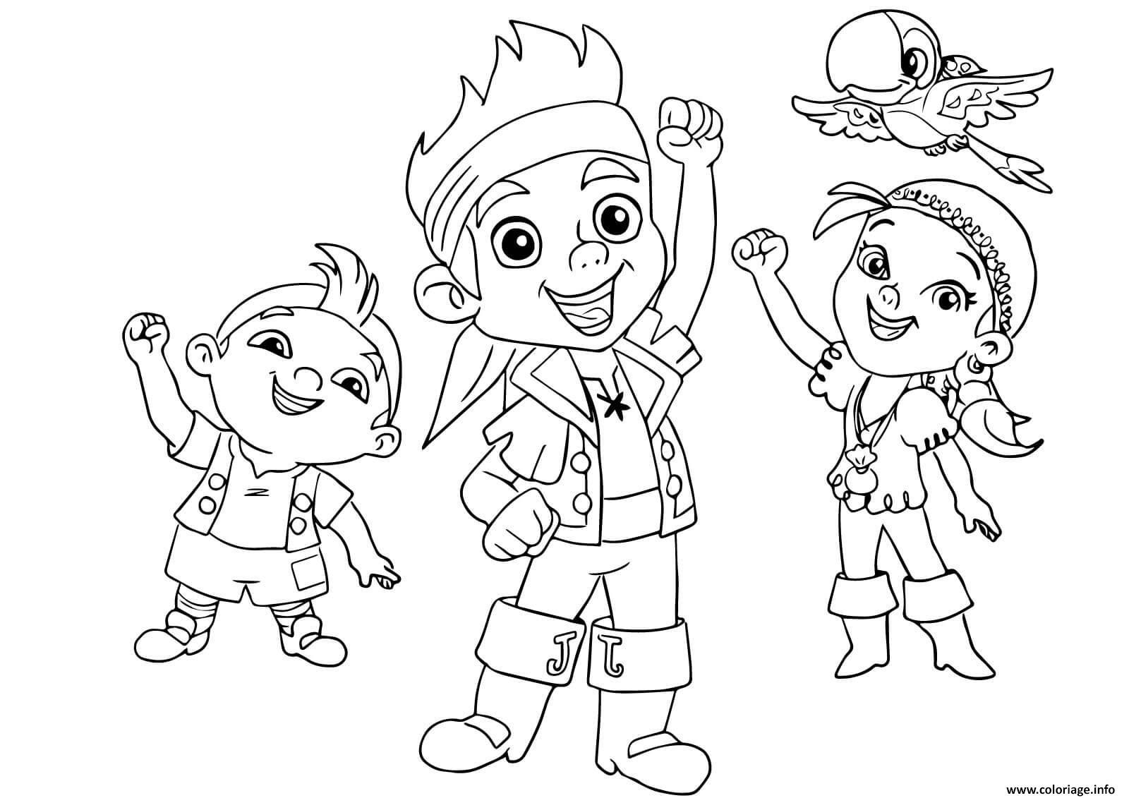 Coloriage Jake Izzy Cubby Et Skully Pirate Enfant Dessin encequiconcerne Dessin A Imprimer De Pirate