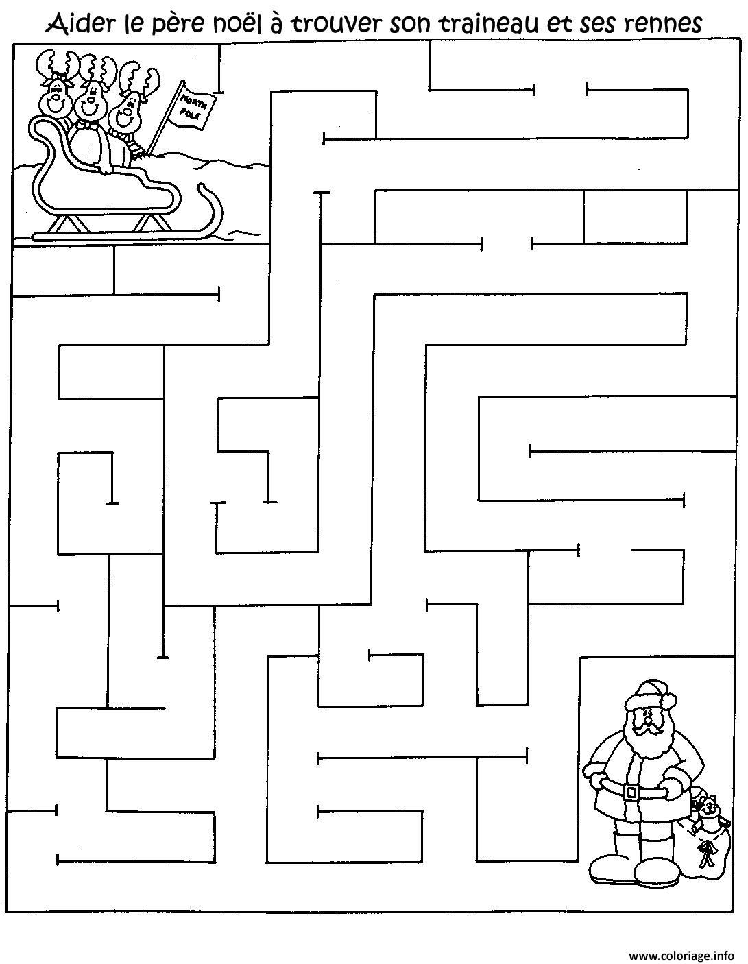 Coloriage Jeu Pere Noel Labyrinthe Noel Gratuit Imprimer Dessin à Jeux Mathématiques À Imprimer