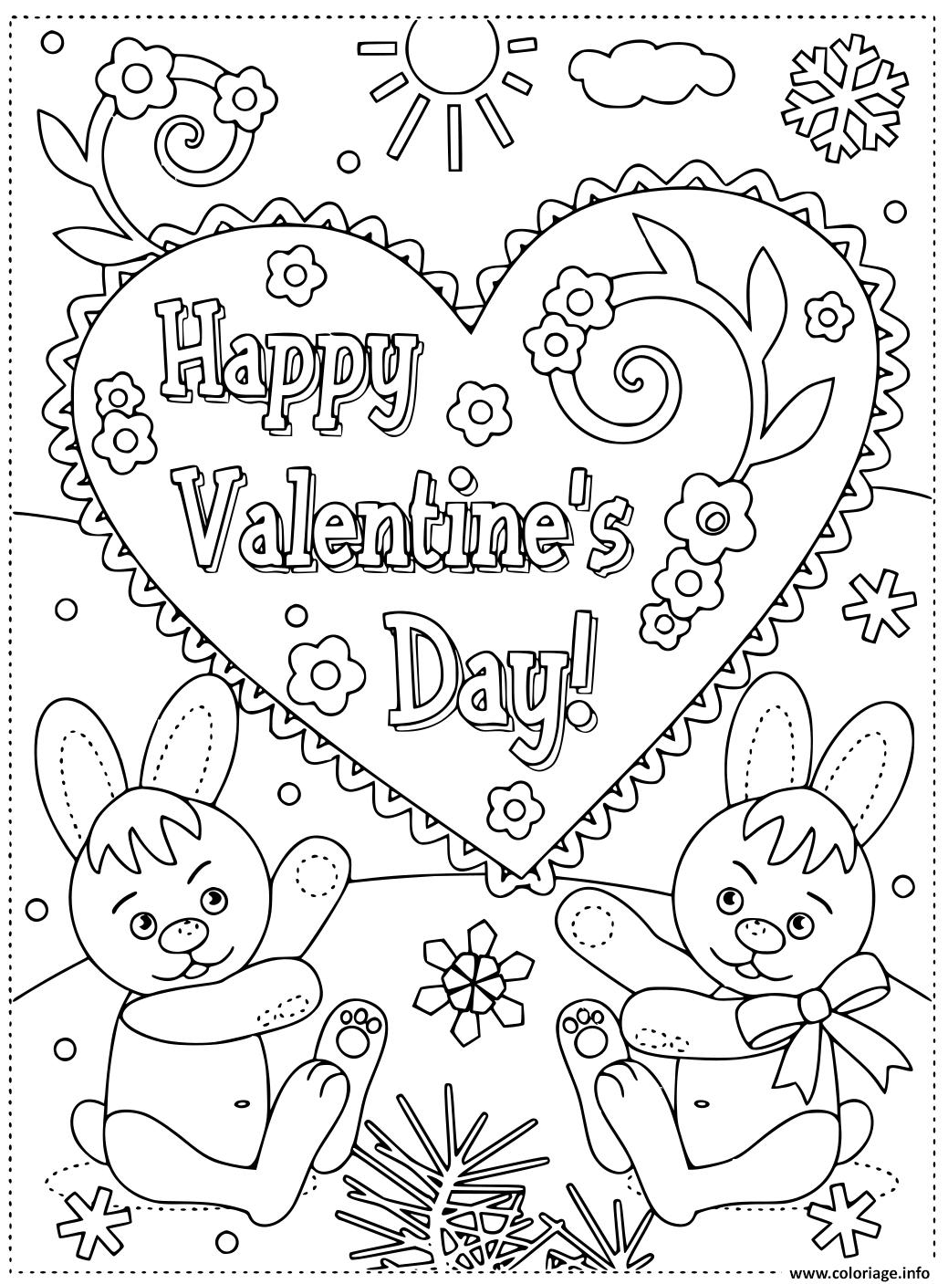 Coloriage Joyeuse St Valentin Par Des Lapins Carte De Voeux intérieur Dessin Pour La Saint Valentin