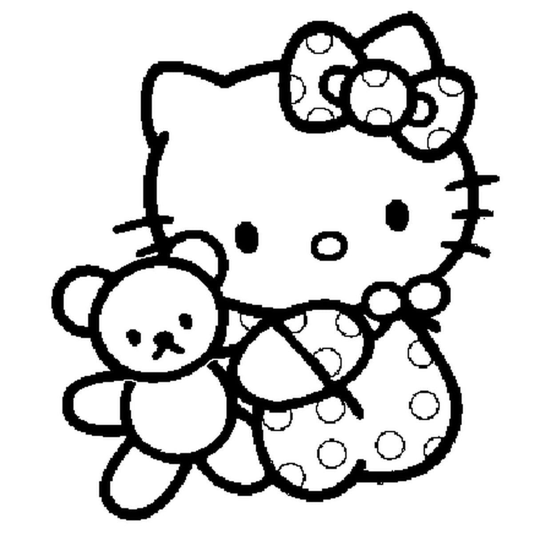 Coloriage Kitty Bébé En Ligne Gratuit À Imprimer intérieur Hello Kitty À Dessiner