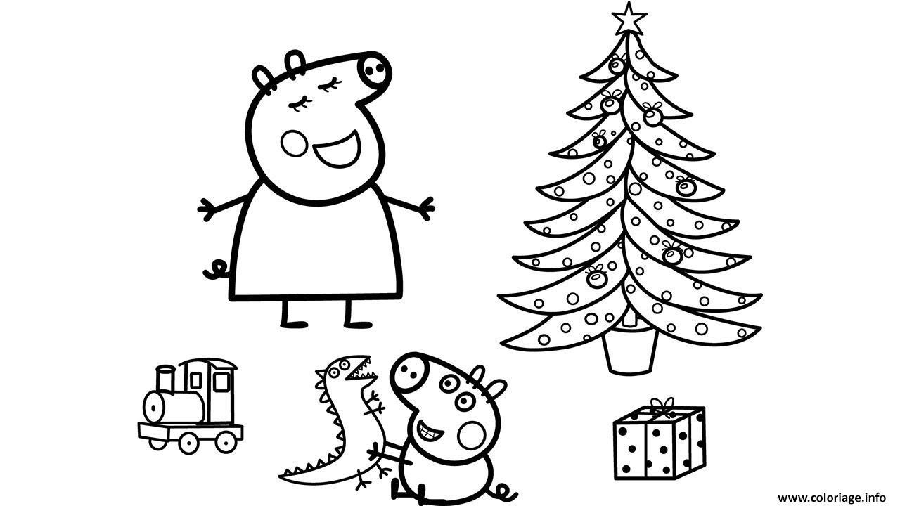 Coloriage La Famille Peppa Pig 25 Decembre Noel Dessin intérieur Peppa Pig A Colorier