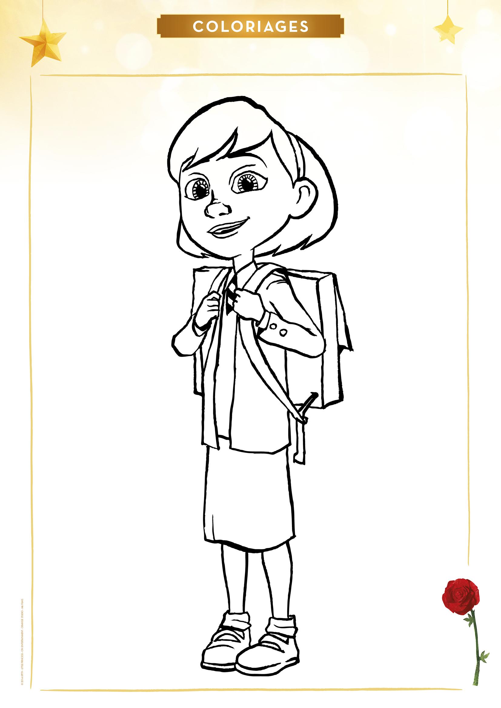 Coloriage La Petite Fille À L'école - Momes encequiconcerne Personnage A Colorier