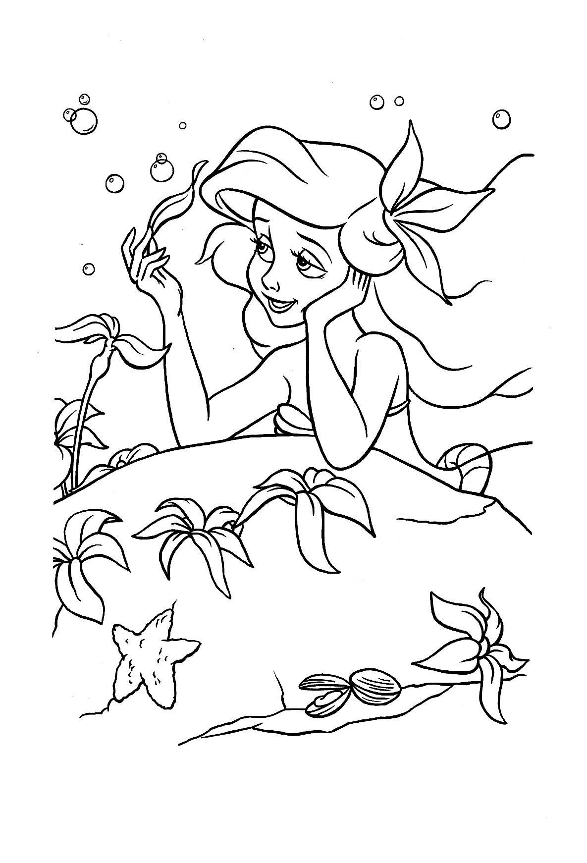Coloriage La Petite Sirène À Colorier - Dessin À Imprimer tout La Petite Sirène À Colorier