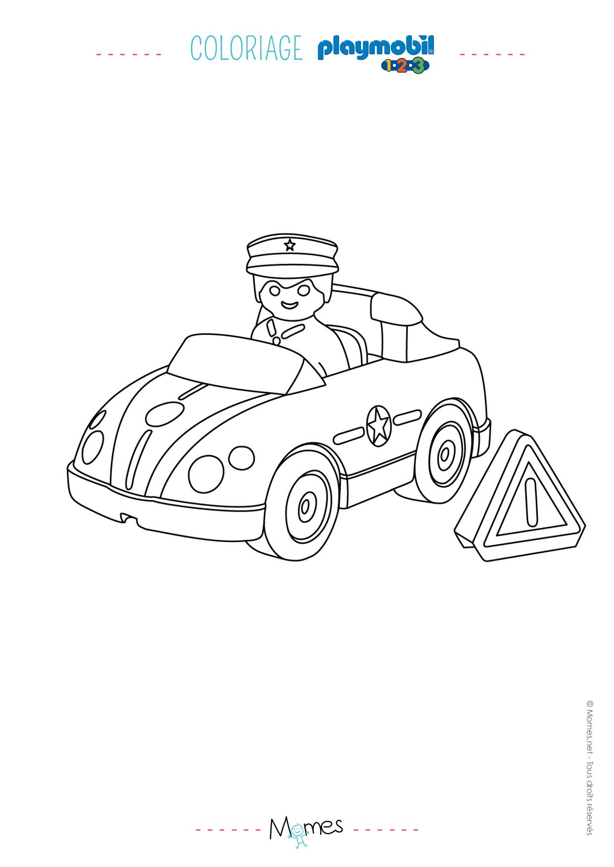 Coloriage La Voiture De Police Et Le Policier Playmobil 123 concernant Apprendre A Dessiner Une Voiture