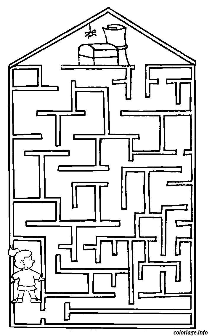 Coloriage Labyrinthe Jeux Maison Dessin concernant Labyrinthes À Imprimer