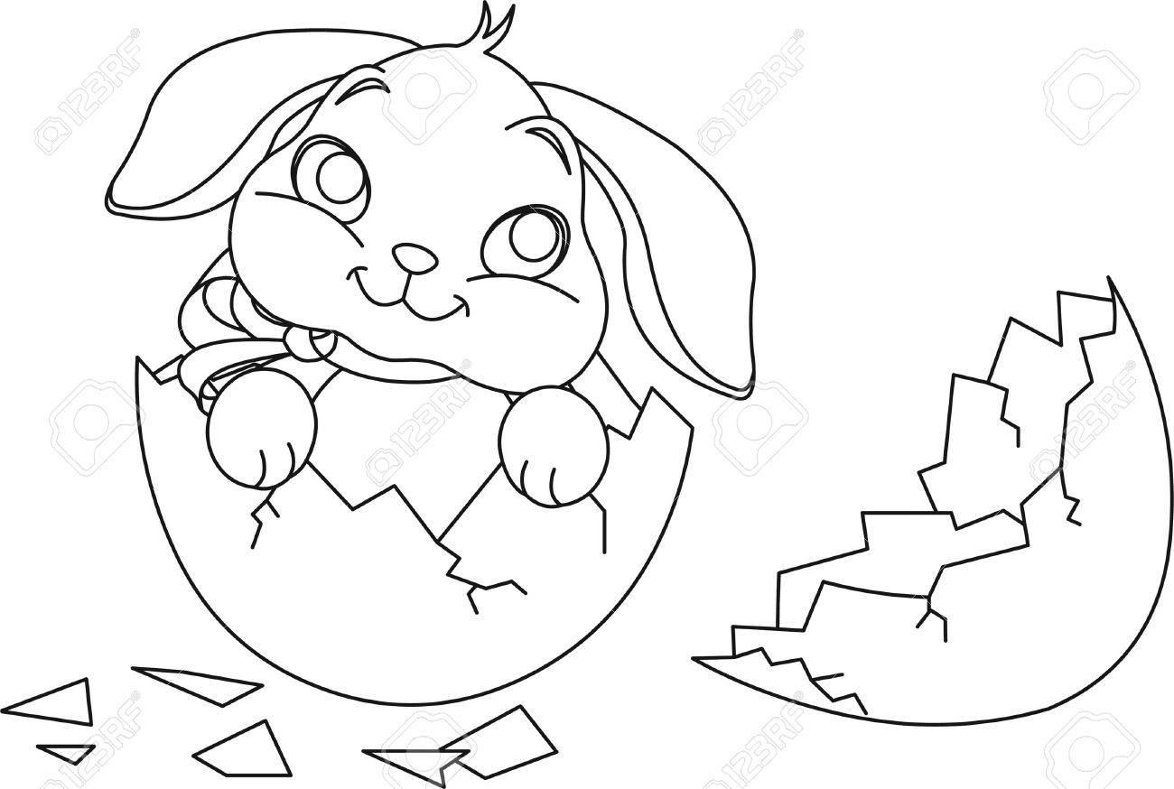 Coloriage Lapin De Paques Et Les Oeufs Ballons. Paques 1 destiné Lapin Crétin À Colorier