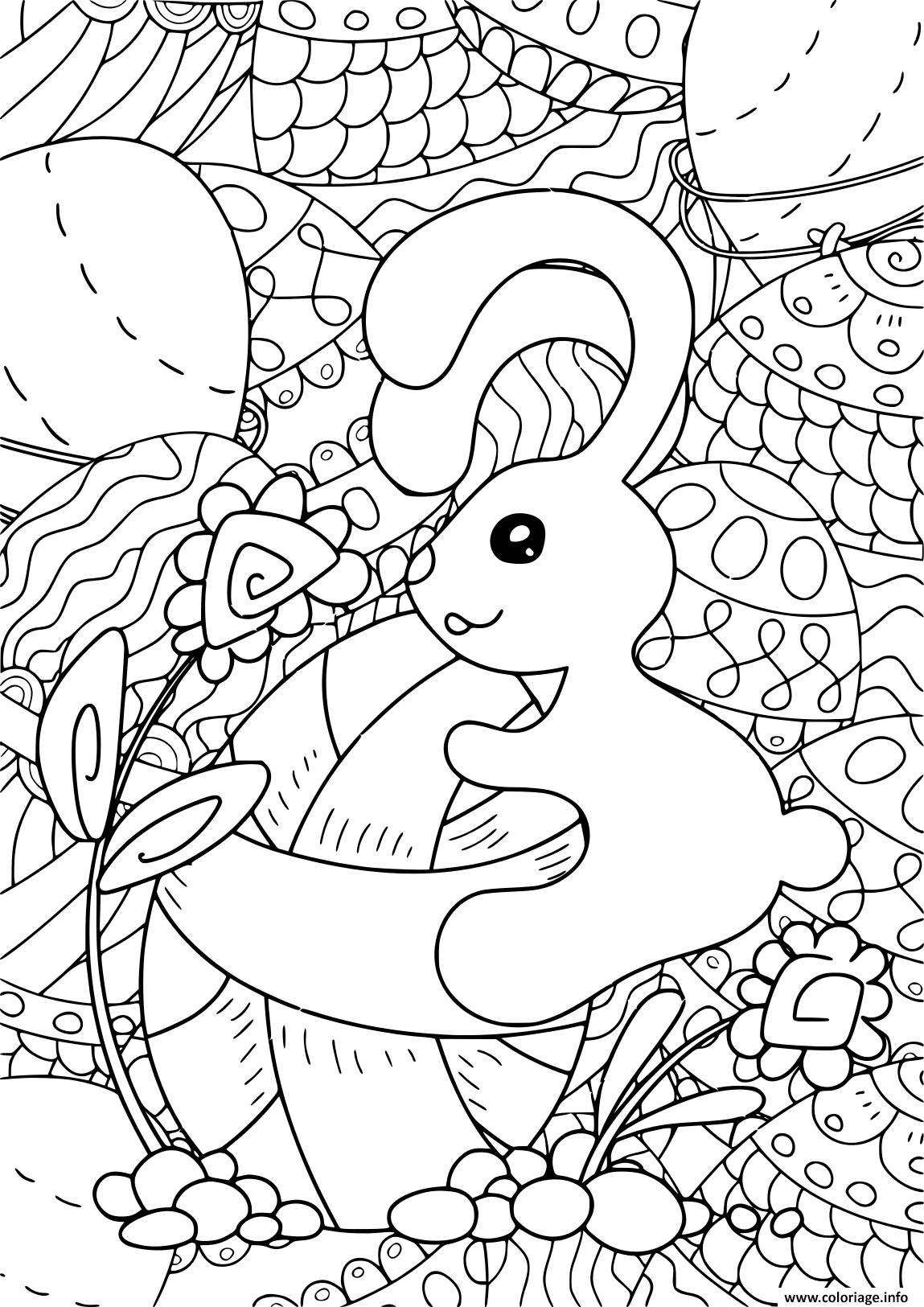 Coloriage Lapin Paques Pour Adulte Et Enfants Antistress Dessin tout Dessin Pour Paques