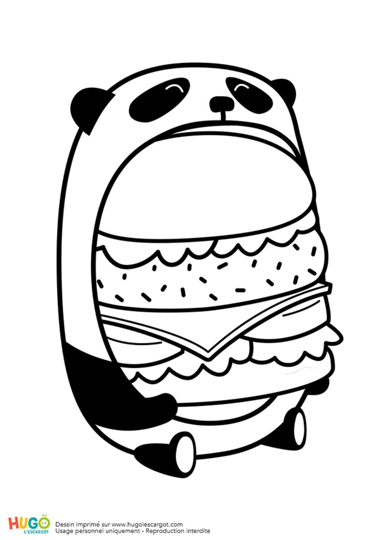 Coloriage Le Burger Du Panda En Mode Kawaii En Ligne Gratuit intérieur Panda À Colorier