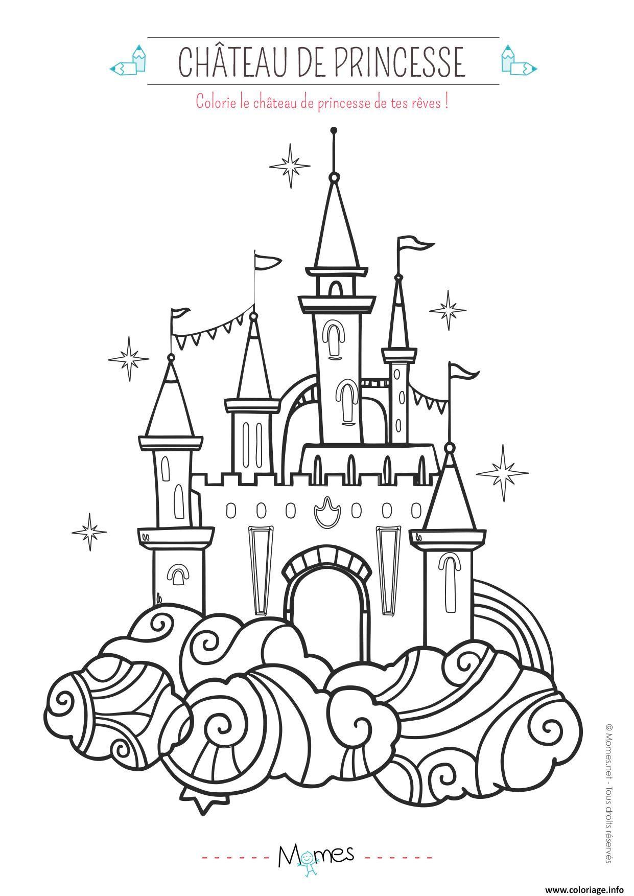Coloriage Le Chateau De Princesse Dessin À Imprimer concernant Chateau Princesse Dessin