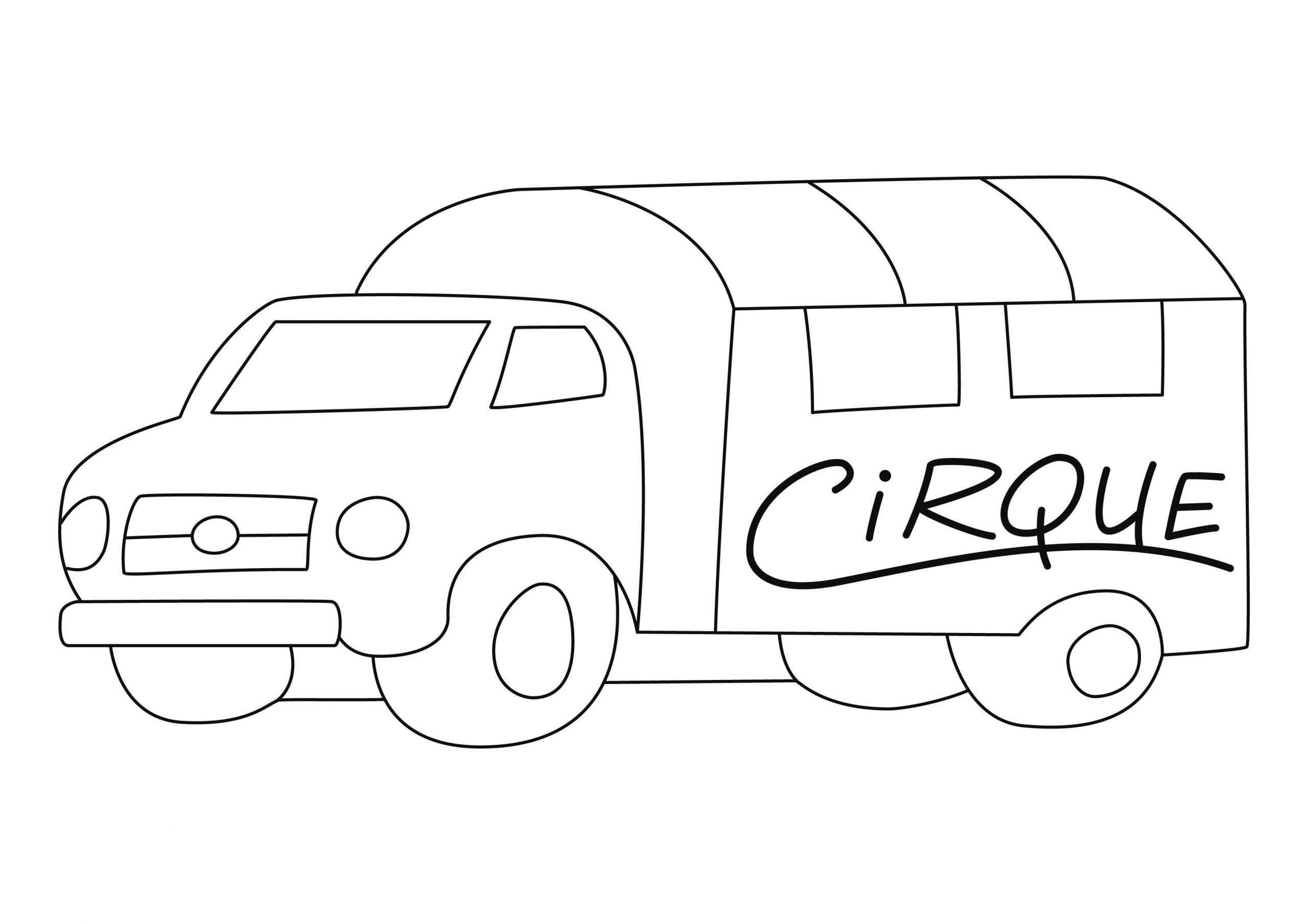 Coloriage - Le Cirque : Camion 02 - 10 Doigts avec Dessin D Un Camion