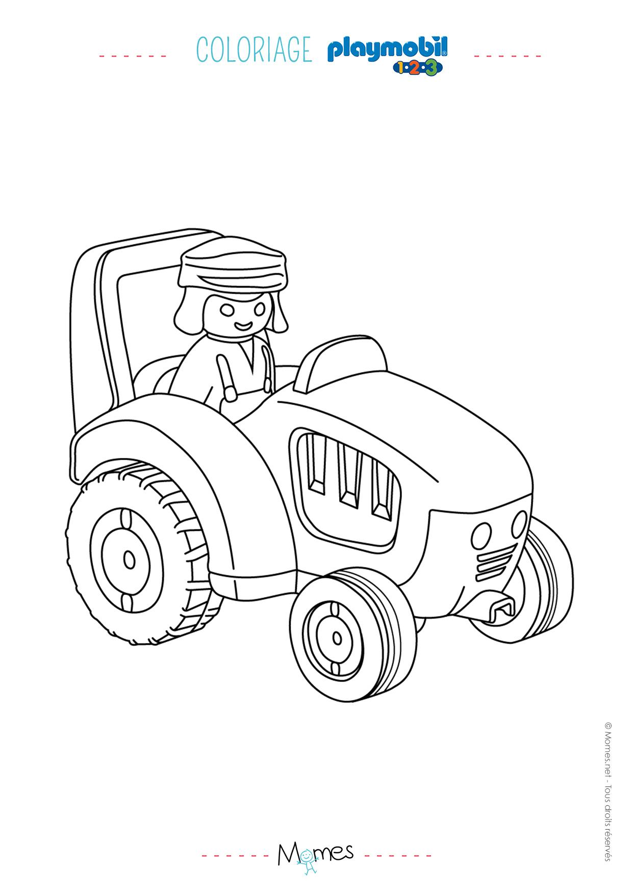 Coloriage Le Fermier Et Le Tracteur De Playmobil 123 - Momes intérieur Dessin De Tracteur À Colorier
