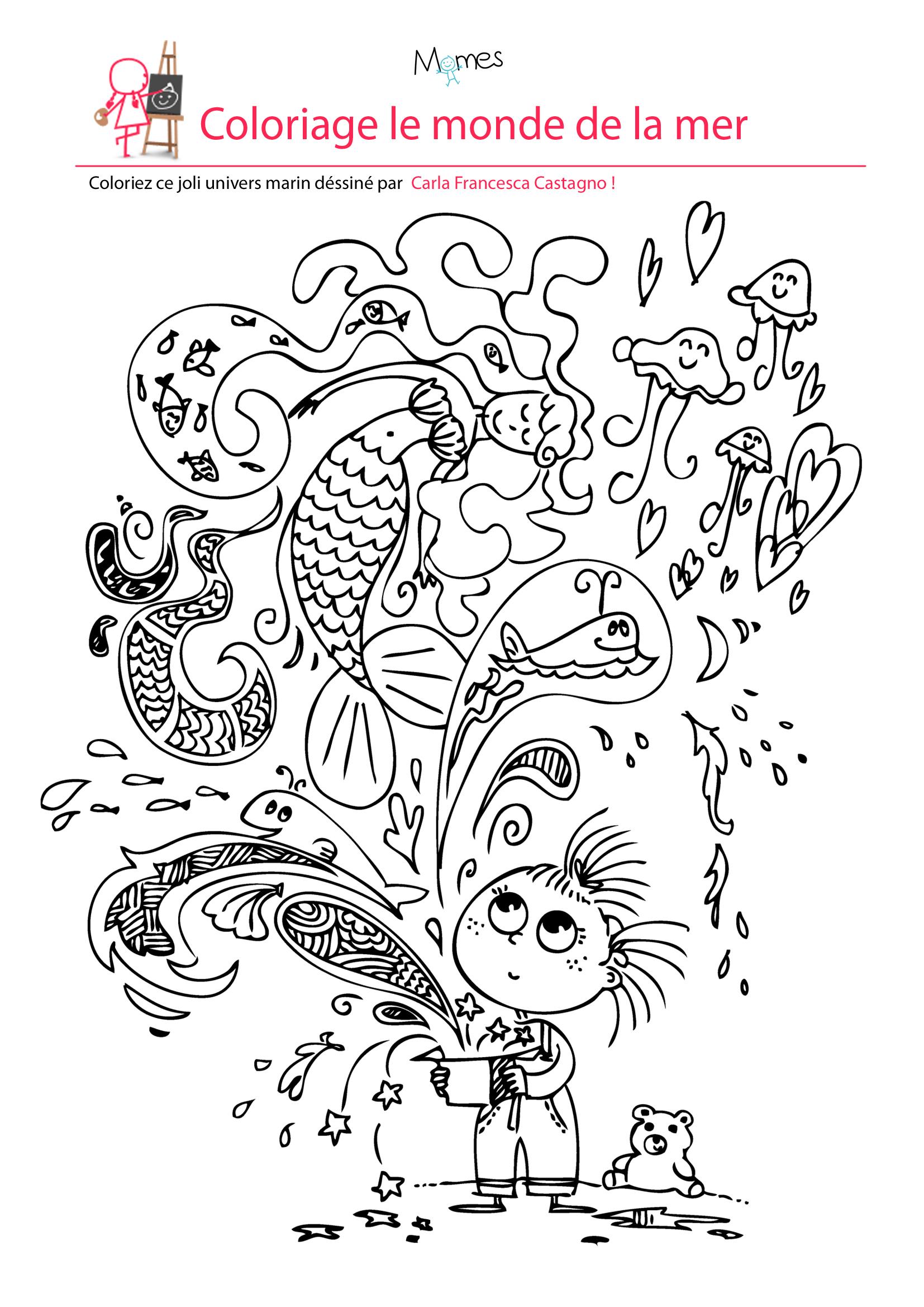 Coloriage Le Monde De La Mer - Momes tout Coloriage Sur La Mer À Imprimer