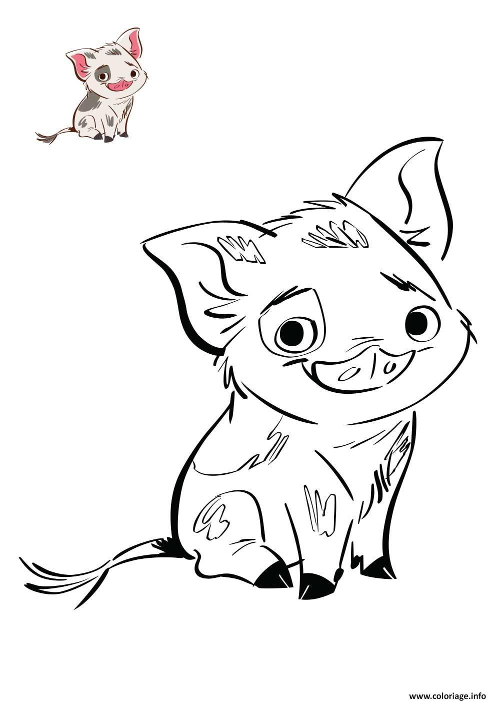 Coloriage Le Petit Cochon De Vaiana Disney Dessin avec Dessin A Colorier Cochon