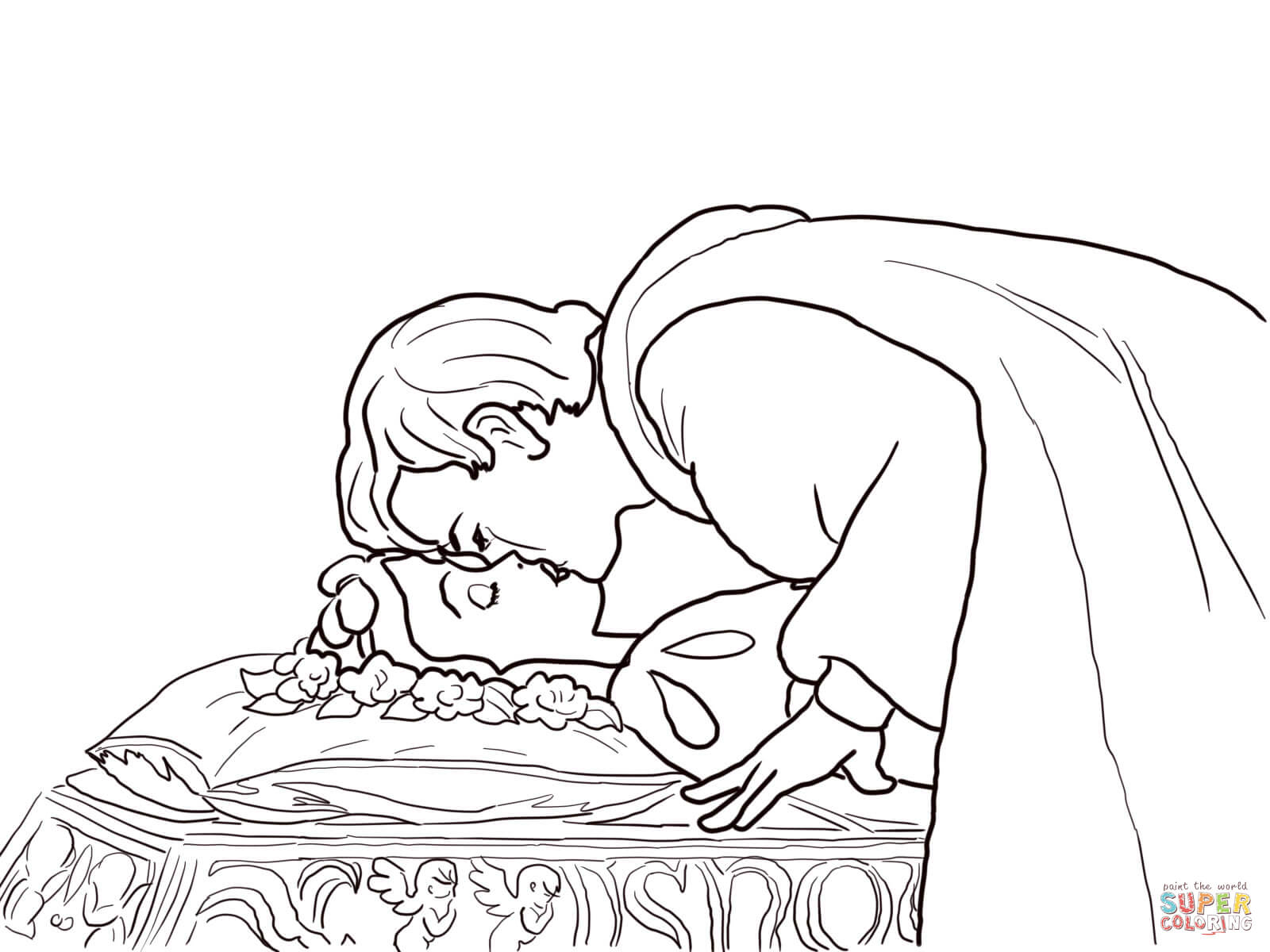 Coloriage - Le Prince Embrasse Blanche-Neige | Coloriages À destiné Blanche Neige À Colorier Et Imprimer