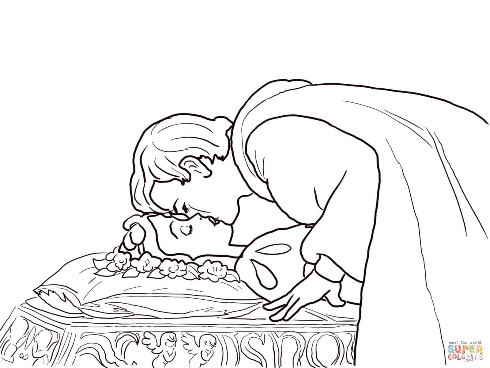 Coloriage - Le Prince Embrasse Blanche-Neige | Coloriages À encequiconcerne Coloriage De Blanche Neige À Imprimer