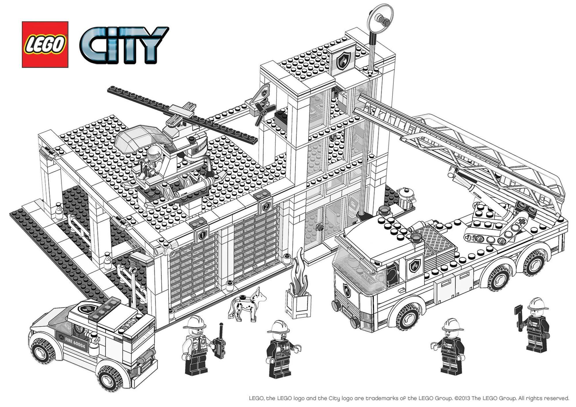 Coloriage Lego City : La Caserne Des Pompiers - Coloriage avec Dessin De Pompier À Imprimer