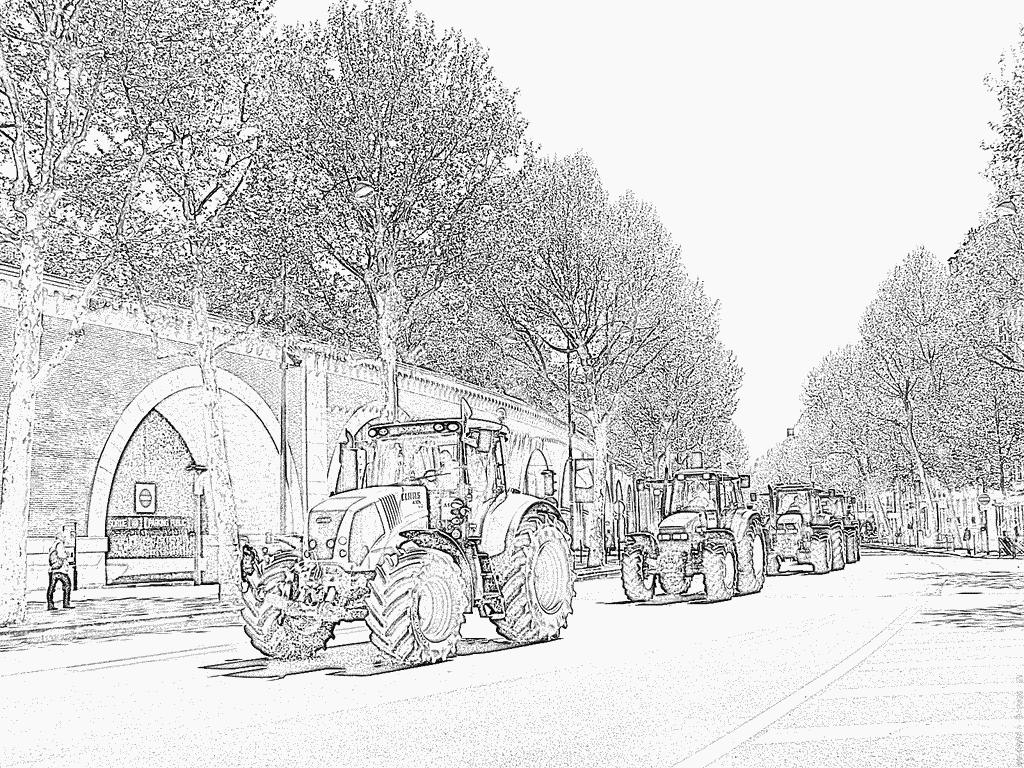 Coloriage Les Agriculteurs A Paris 12 À Imprimer Pour Les avec Dessin De Tracteur À Colorier