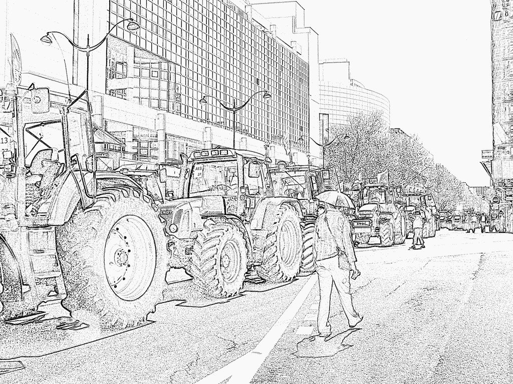 Coloriage Les Agriculteurs A Paris 67 À Imprimer Pour Les destiné Dessin De Tracteur À Colorier