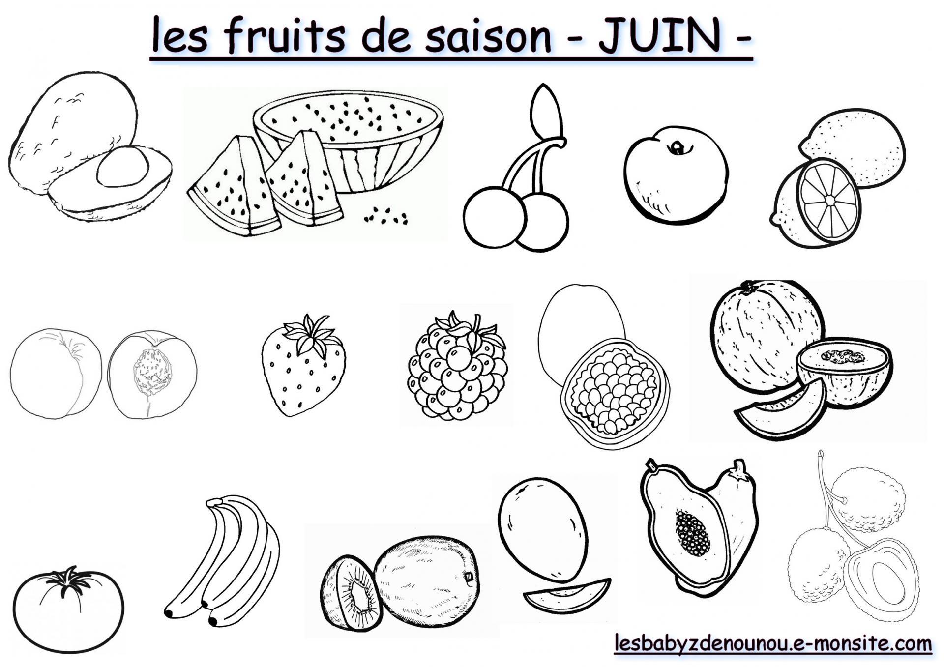 """Coloriage """"les Fruits Et Légumes De Saison"""" (Mois De Juin) concernant Mois À Colorier Maternelle"""