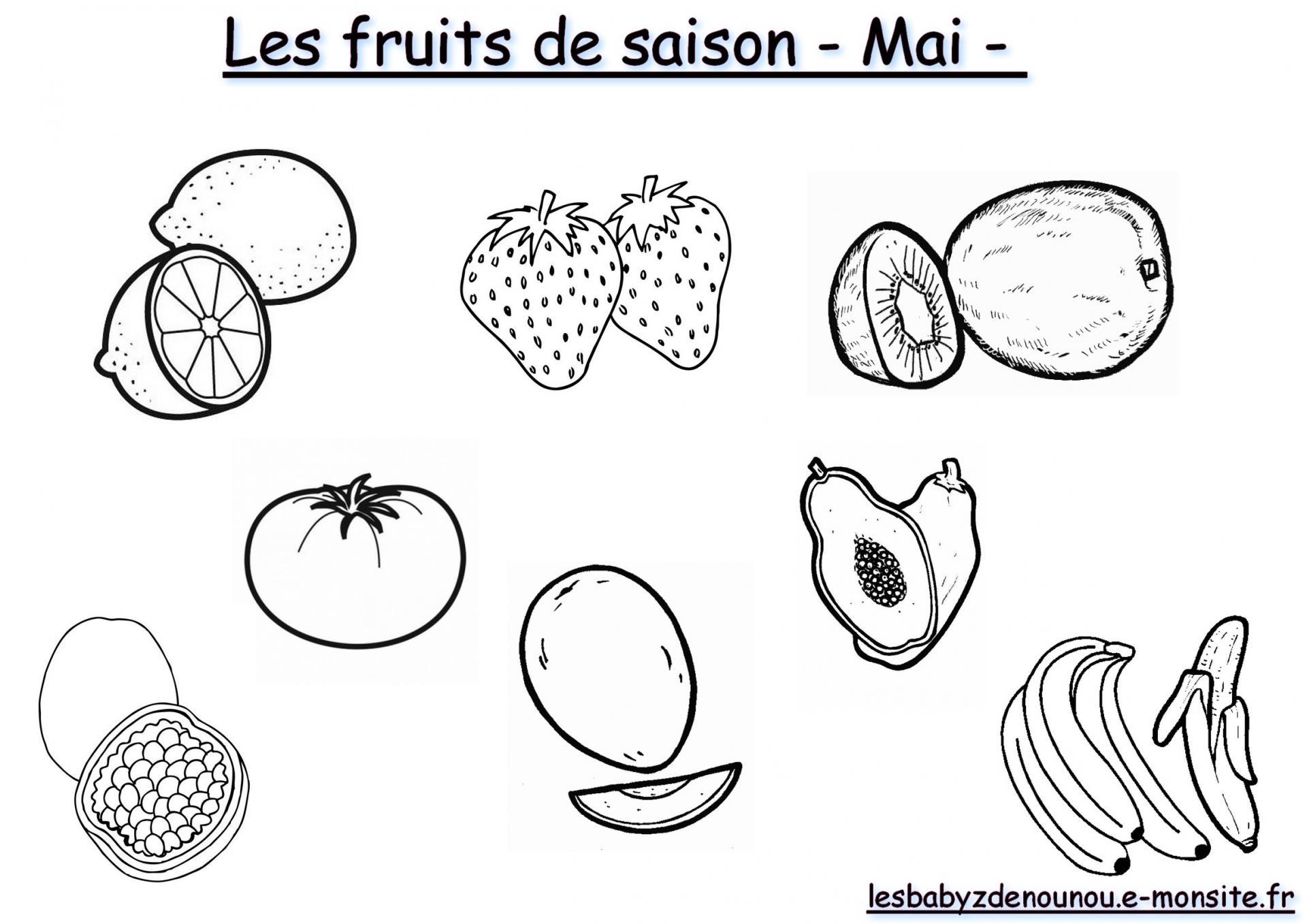 """Coloriage """"les Fruits Et Légumes De Saison"""" (Mois De Mai) à Mois À Colorier Maternelle"""