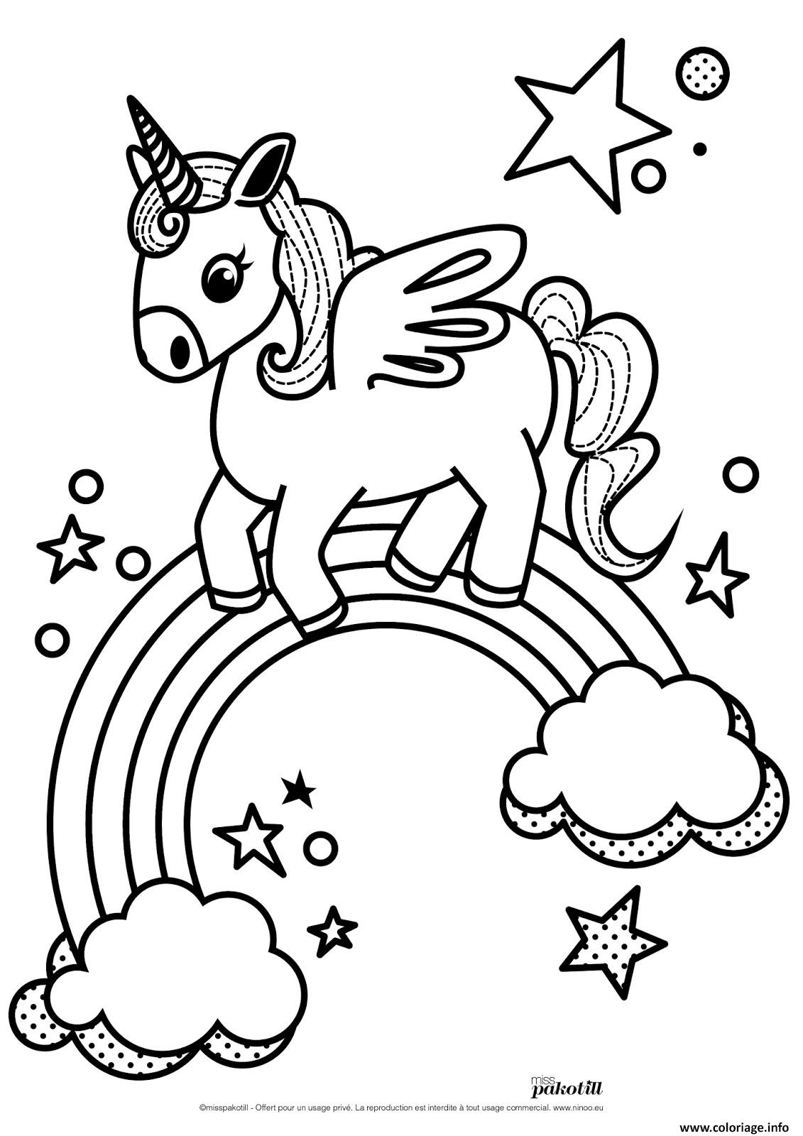Coloriage Licorne Arc En Ciel Princesse | Coloriages À concernant Arc En Ciel A Colorier