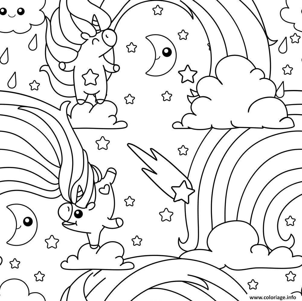 Coloriage Licorne Arc En Ciel Unicorn Pattern Dessin dedans Arc En Ciel A Colorier