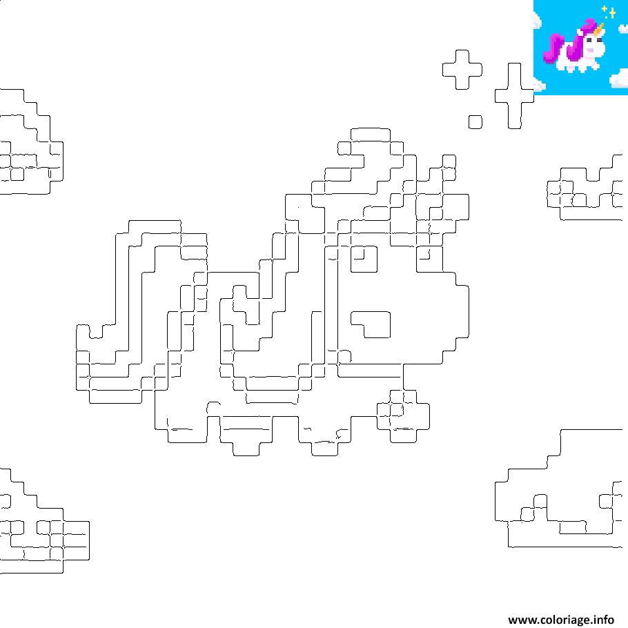Coloriage Licorne Kawaii En Pixel Art Dessin pour Coloriage Pixel Gratuit