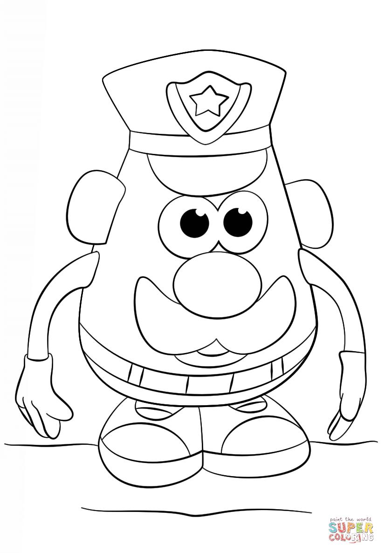 Coloriage - M. Patate Policier | Coloriages À Imprimer Gratuits destiné Mr Patate Coloriage