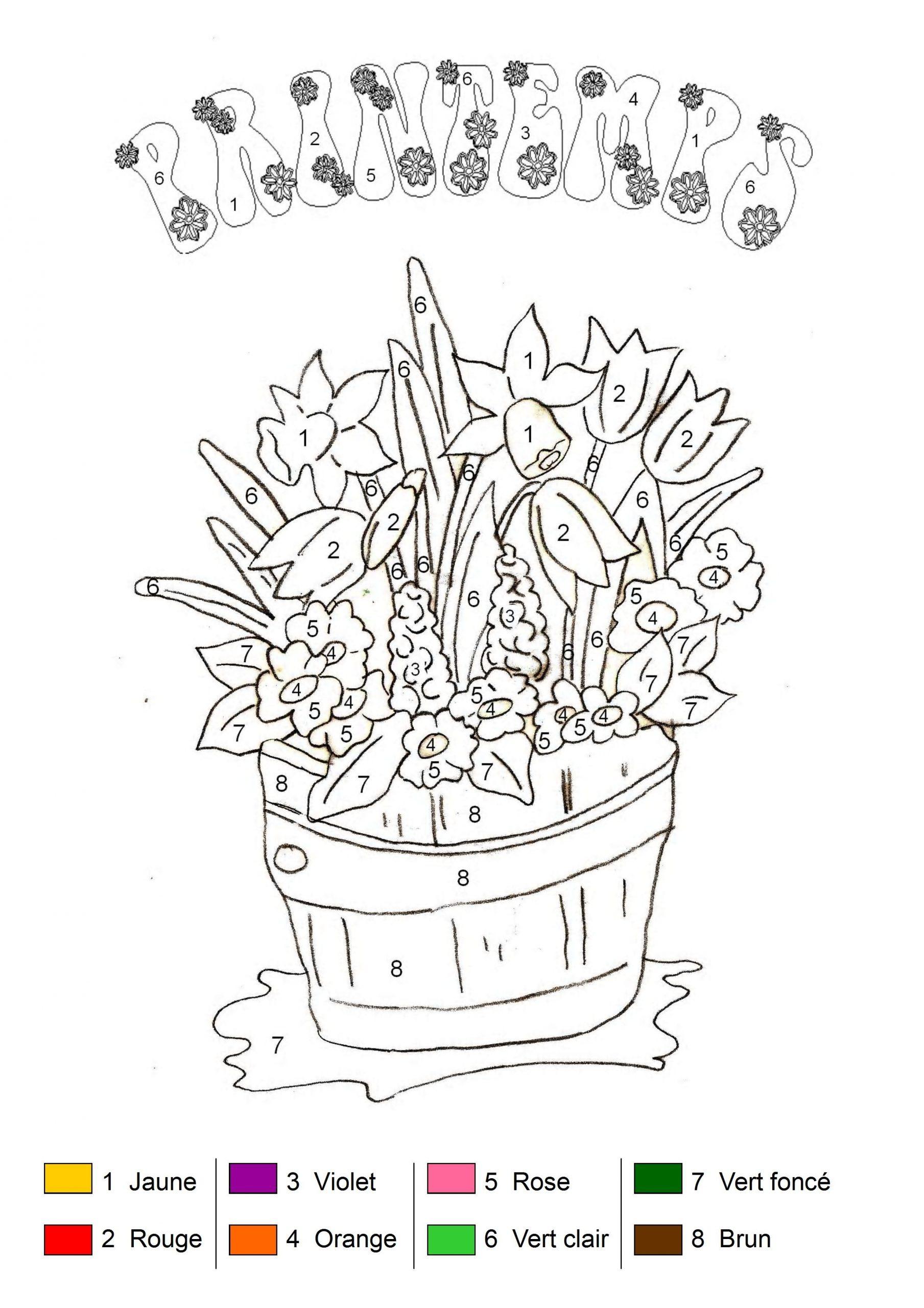 Coloriage Magique - Bouquet De Printemps à Coloriage Magique Alphabet Cp