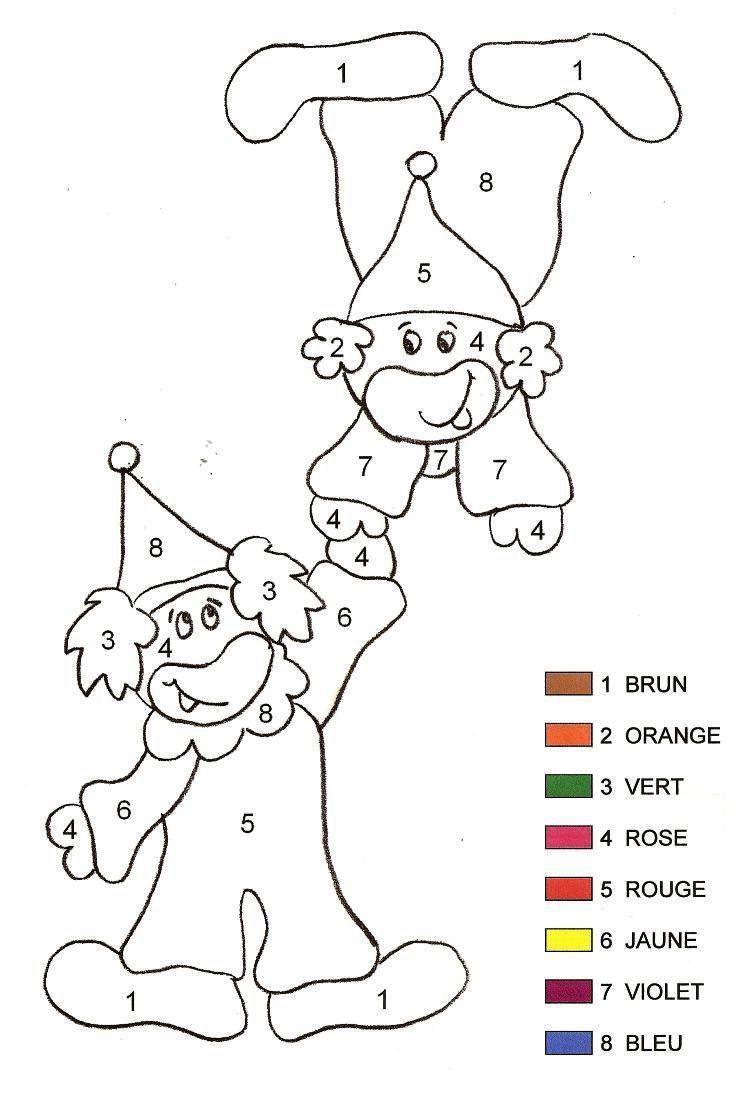 Coloriage Magique - Clown 2 Maternelle serapportantà Coloriage Magique Maternelle Moyenne Section