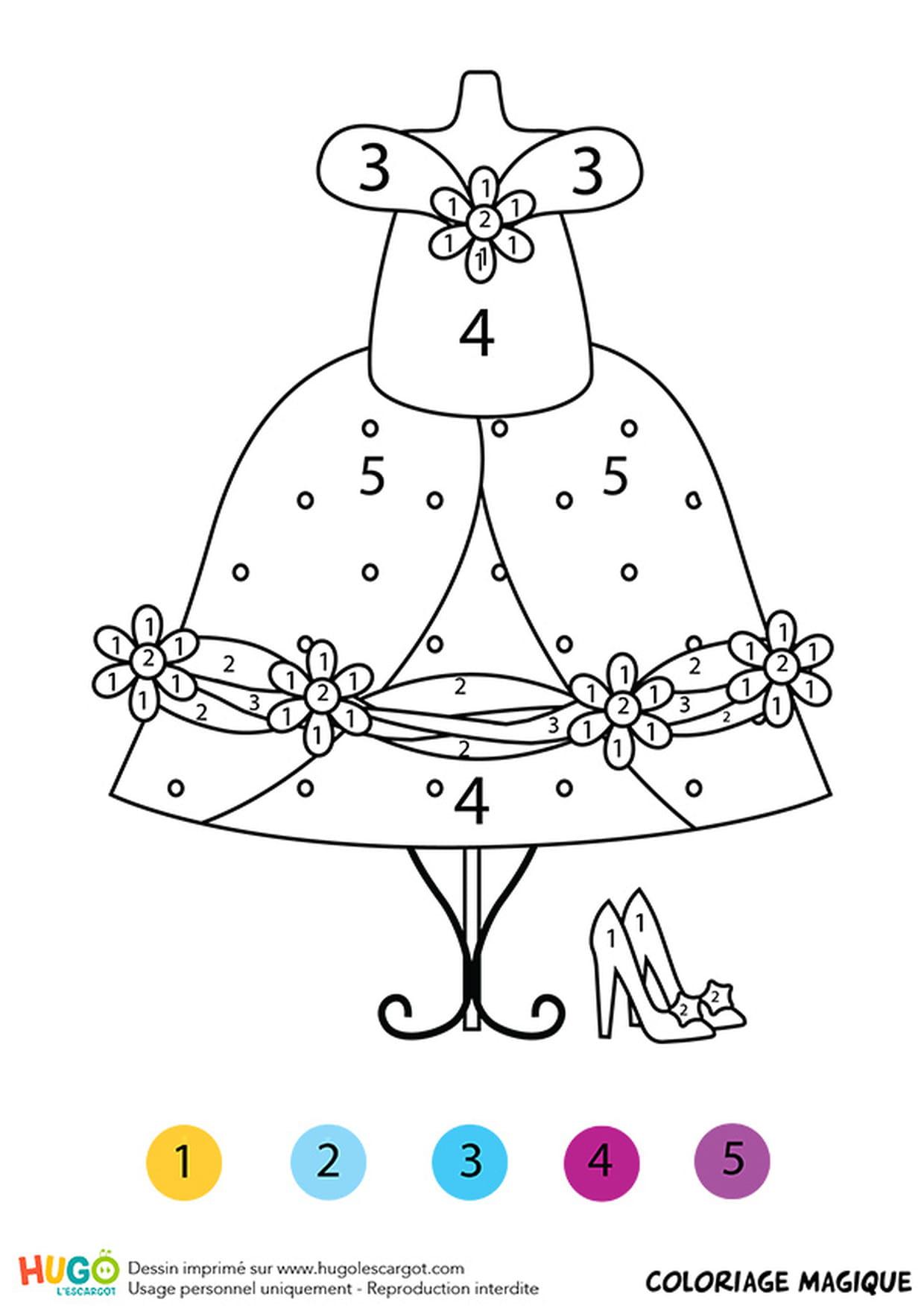 Coloriage Magique Cp : La Robe De Cendrillon dedans Cendrillon À Colorier
