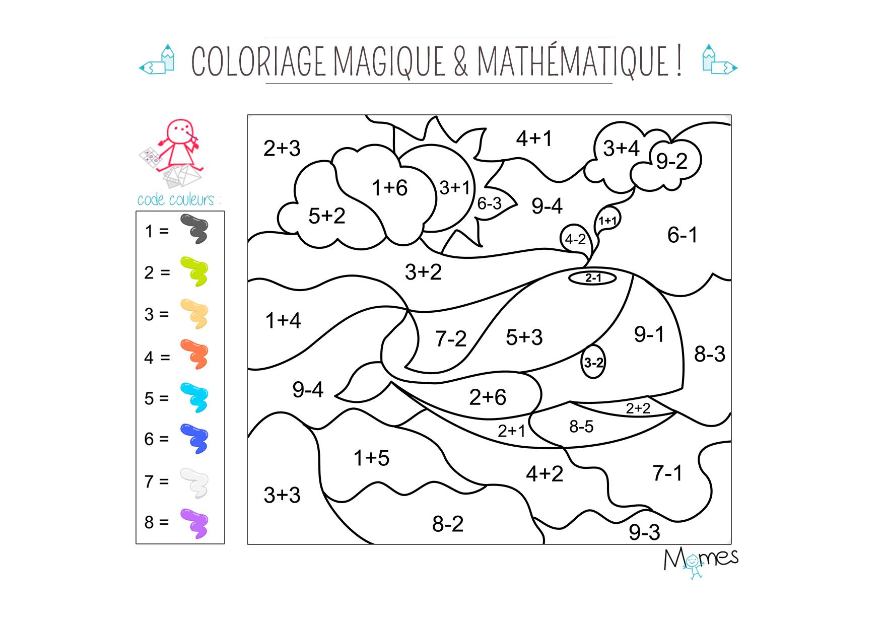 Coloriage Magique Et Mathématique : La Baleine - Momes dedans Coloriage Magique 4 Ans