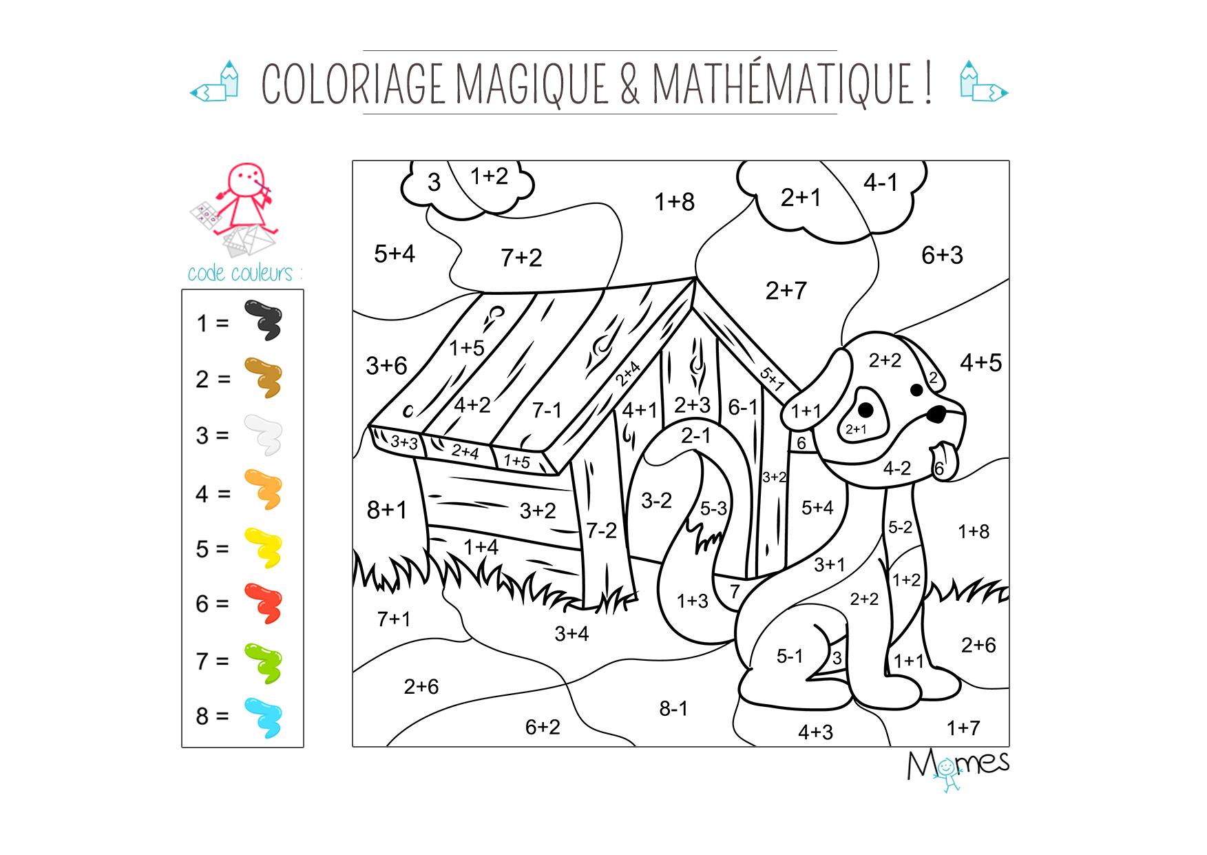Coloriage Magique Et Mathématique : Le Chien - Momes avec Coloriage Magique 4 Ans