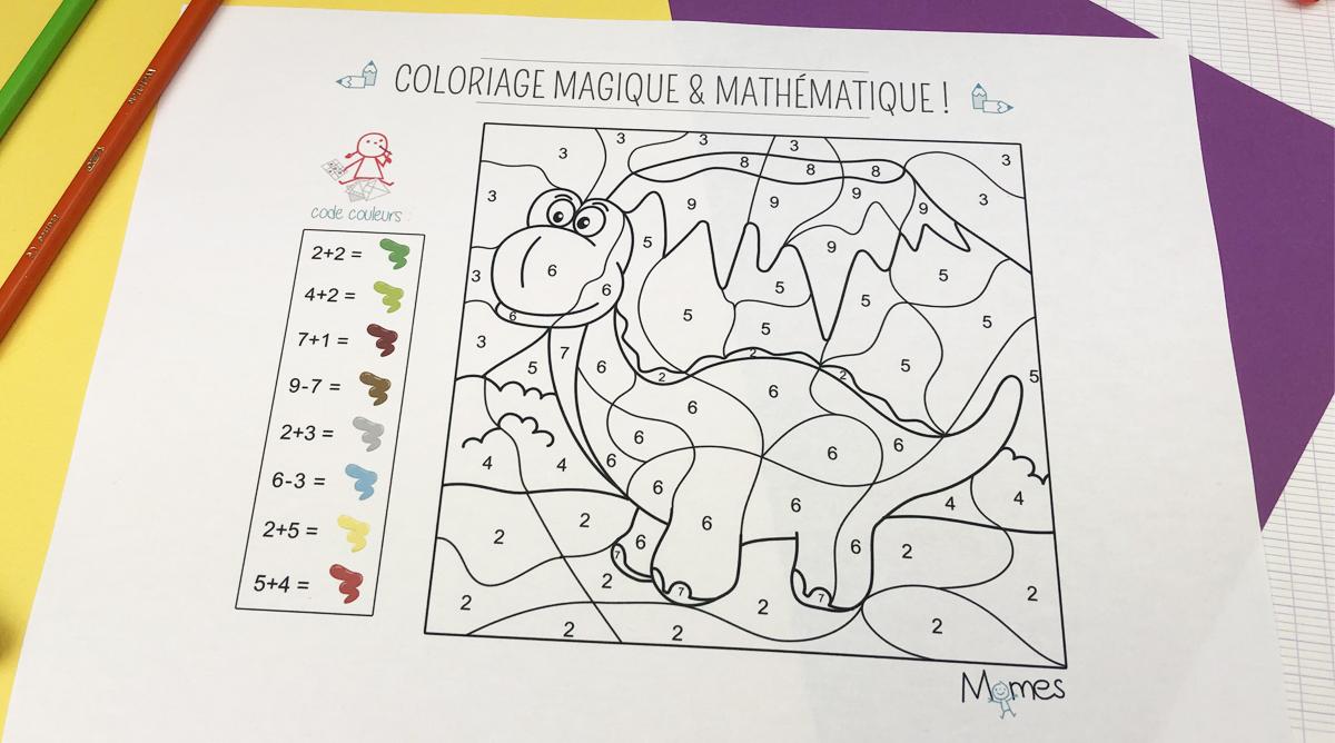 Coloriage Magique Et Mathématique : Le Dinosaure - Momes encequiconcerne Coloriage Codé Maternelle