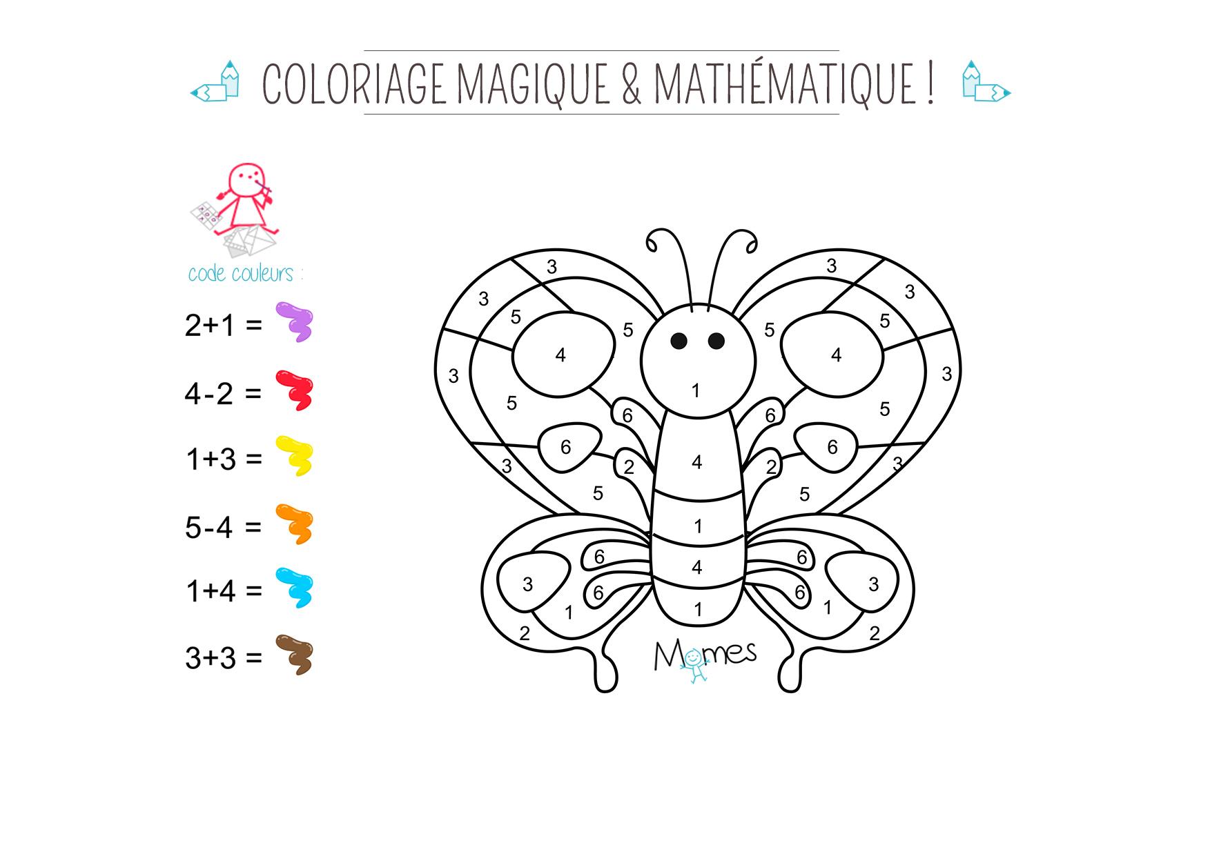Coloriage Magique Et Mathématique : Le Papillon - Momes pour Coloriage Magique 4 Ans