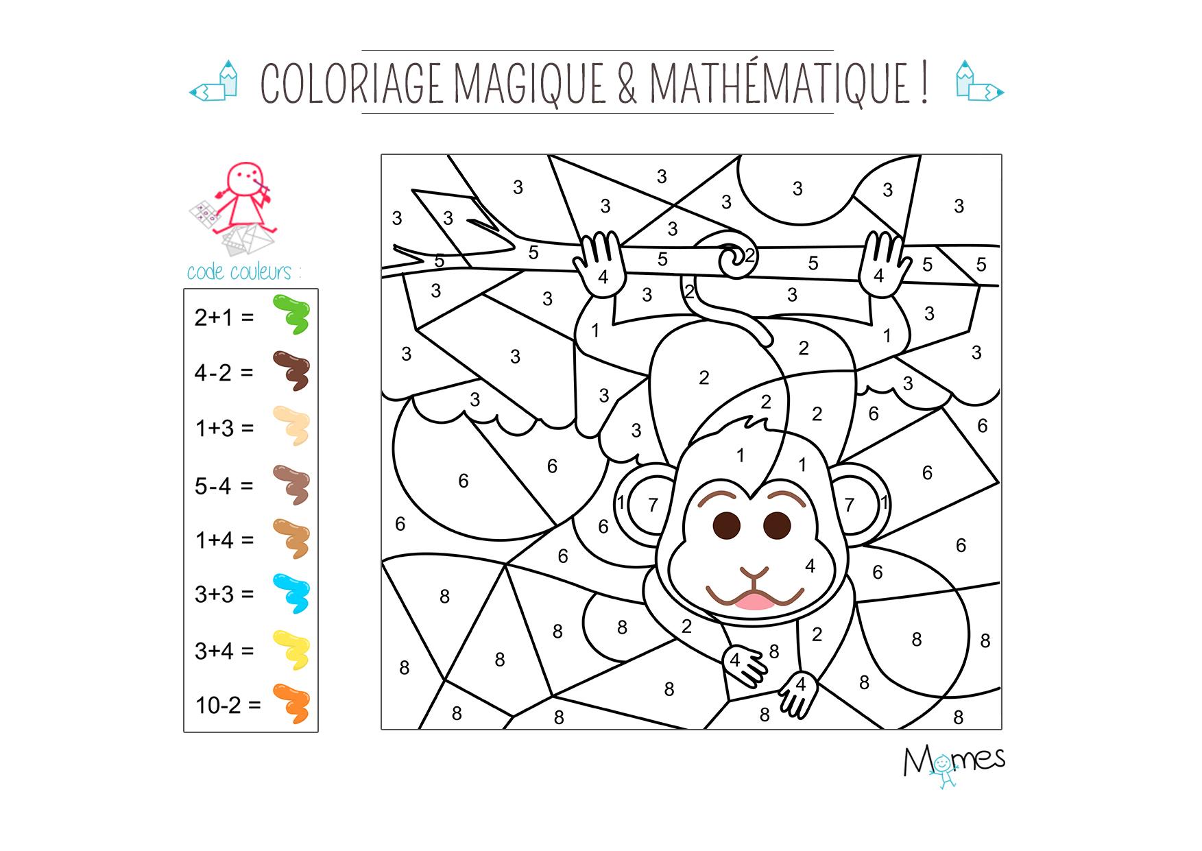 Coloriage Magique Et Mathématique : Le Singe - Momes encequiconcerne Coloriage Magique 4 Ans
