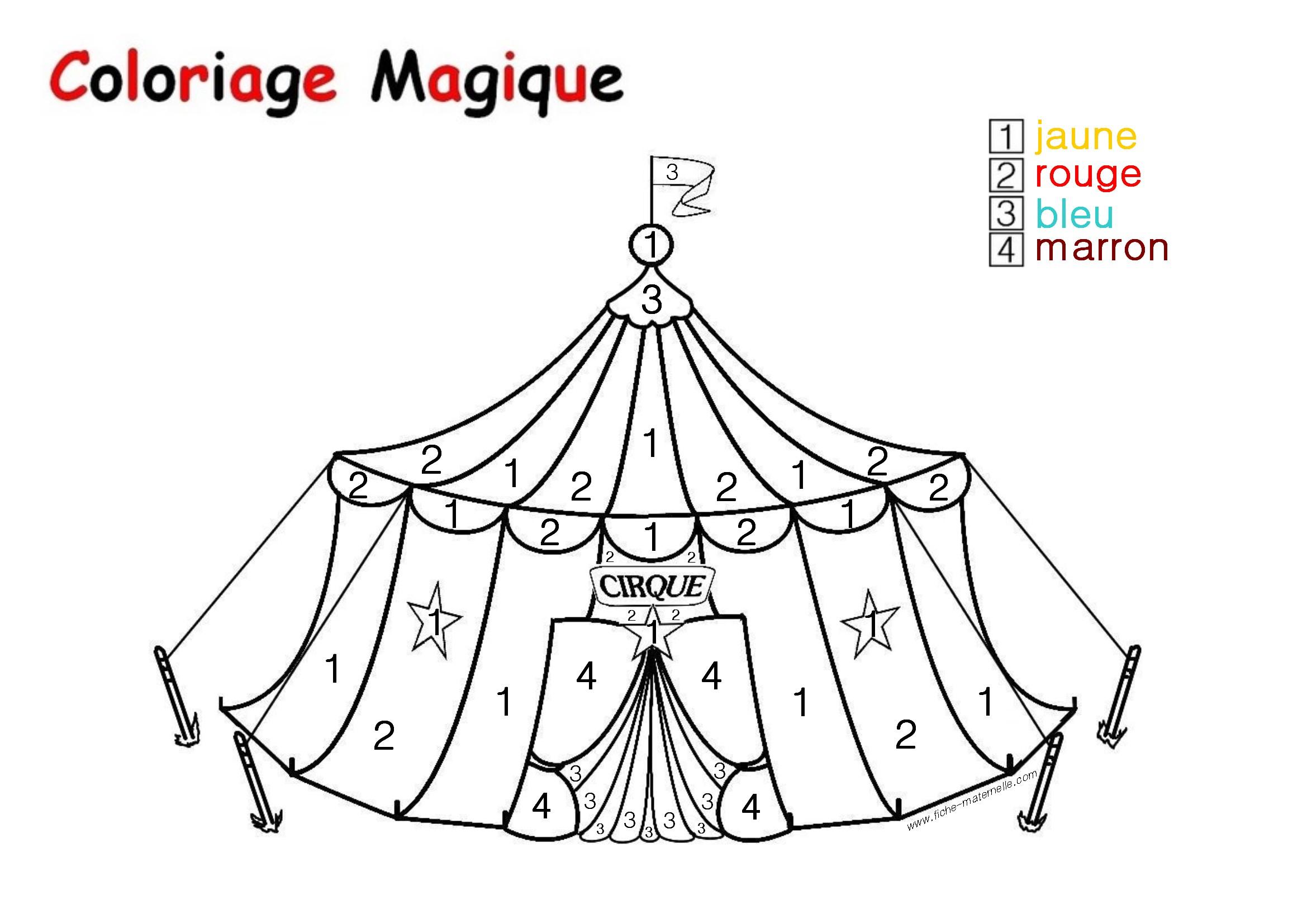 Coloriage Magique Pour Les Plus Petits : Un Chapiteau à Coloriage Magique Petite Section