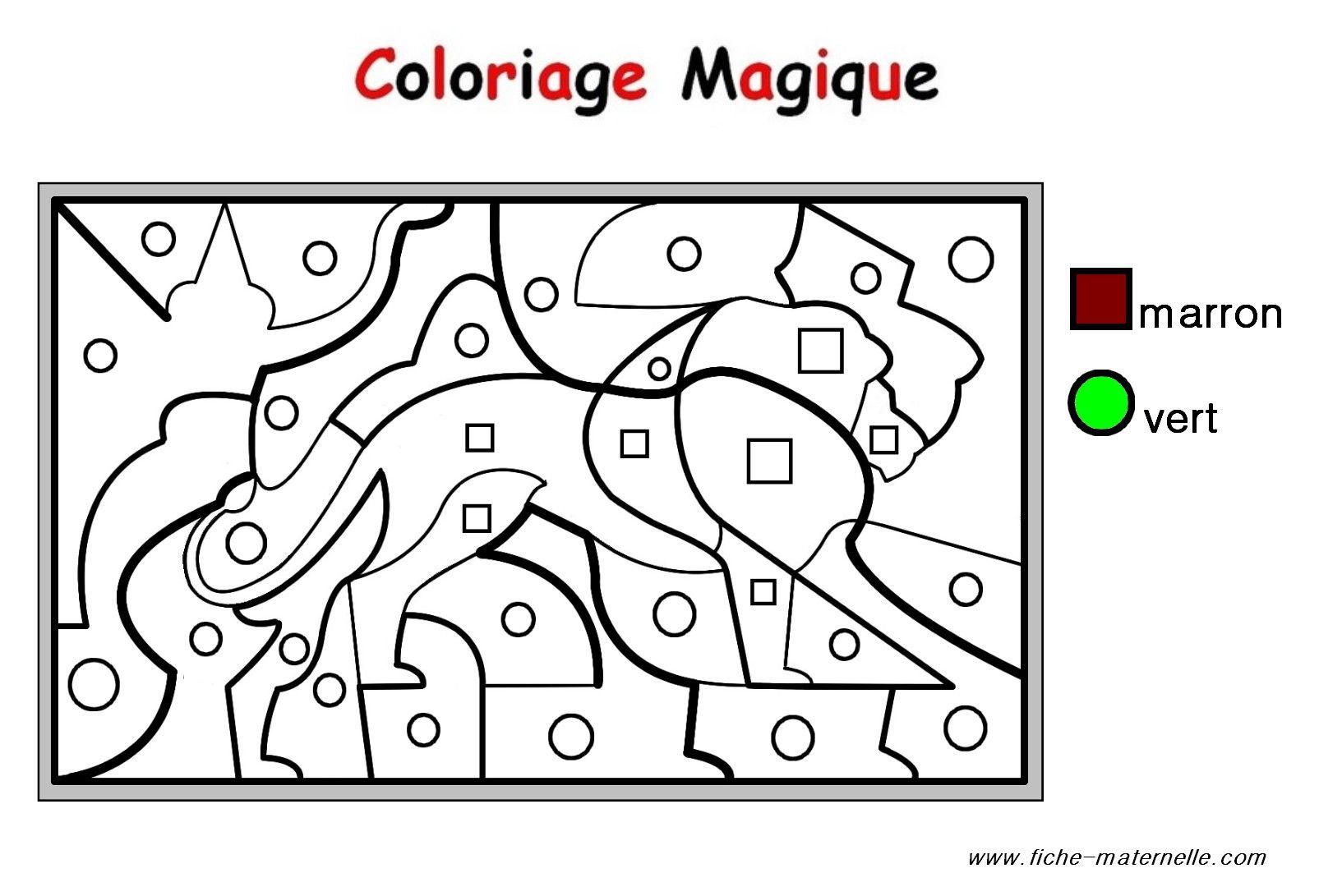 Coloriage Magique Pour Les Plus Petits : Un Lion | Coloriage concernant Puzzle Gratuit Facile