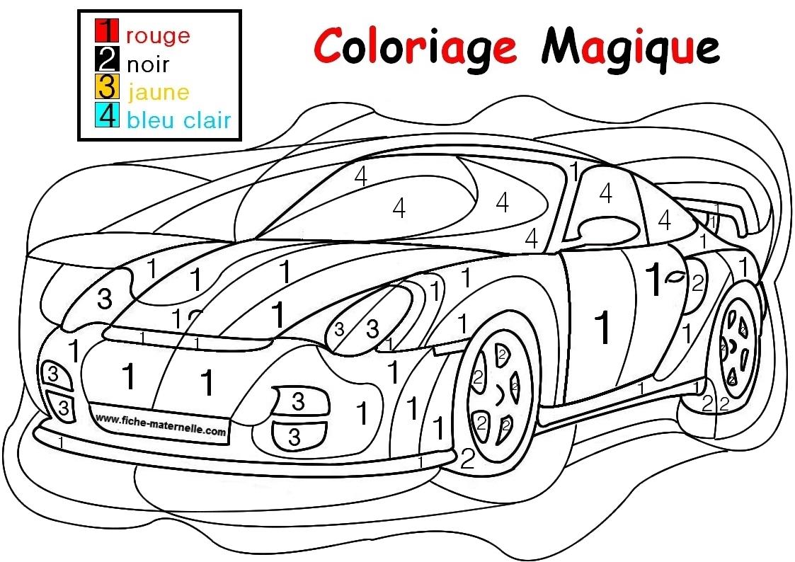 Coloriage Magique Pour Les Plus Petits : Une Auto destiné Coloriage Magique Maternelle Moyenne Section