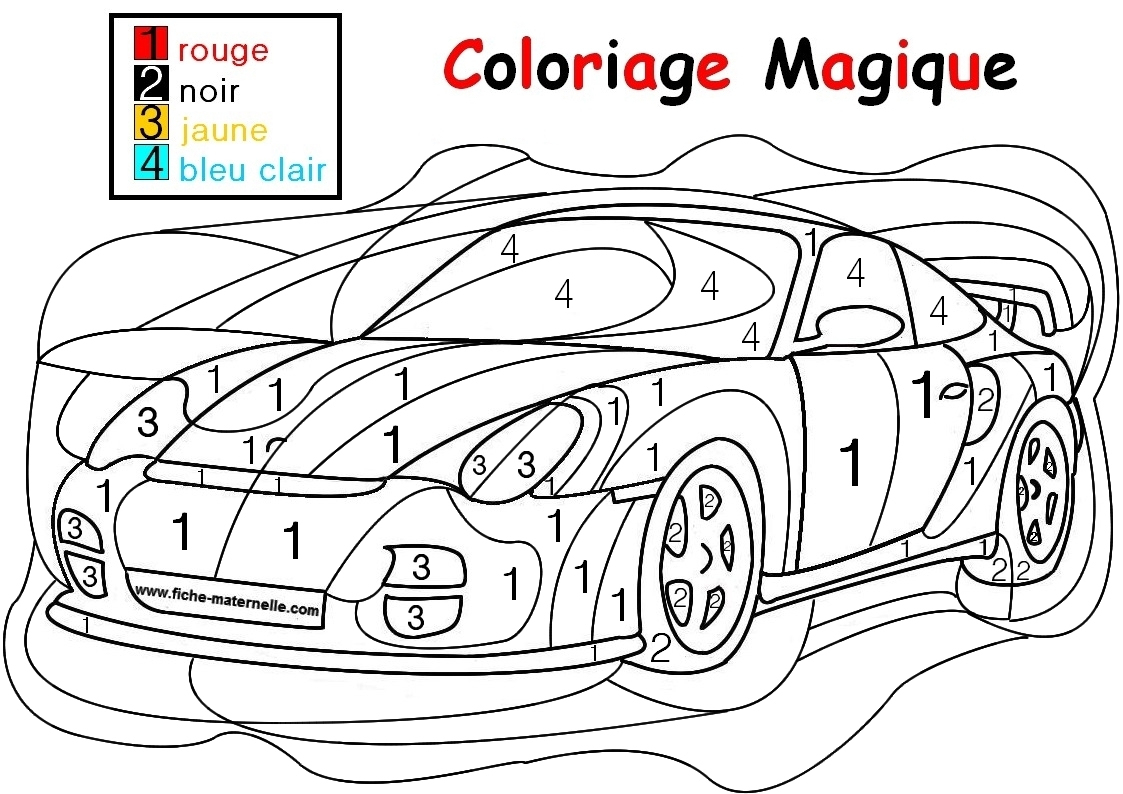 Coloriage Magique Pour Les Plus Petits : Une Auto intérieur Coloriage Codé Moyenne Section