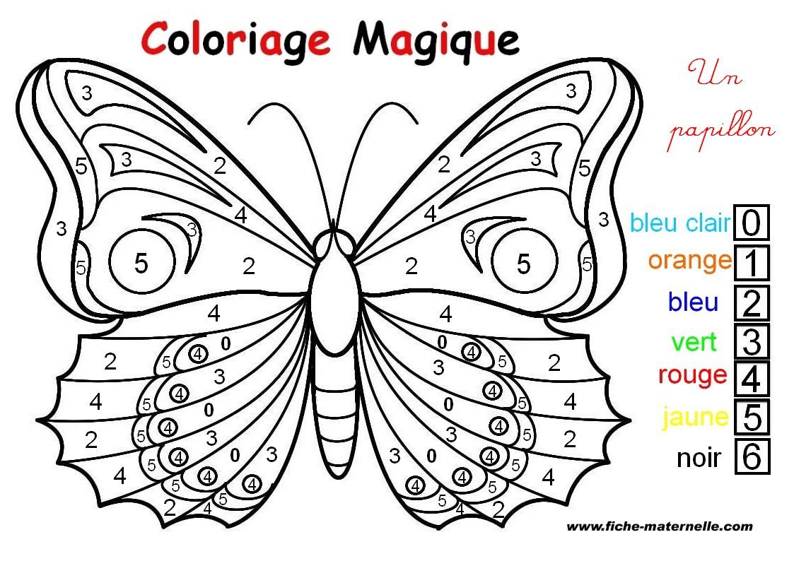 Coloriage Magique : Un Papillon dedans Coloriage Codé Maternelle